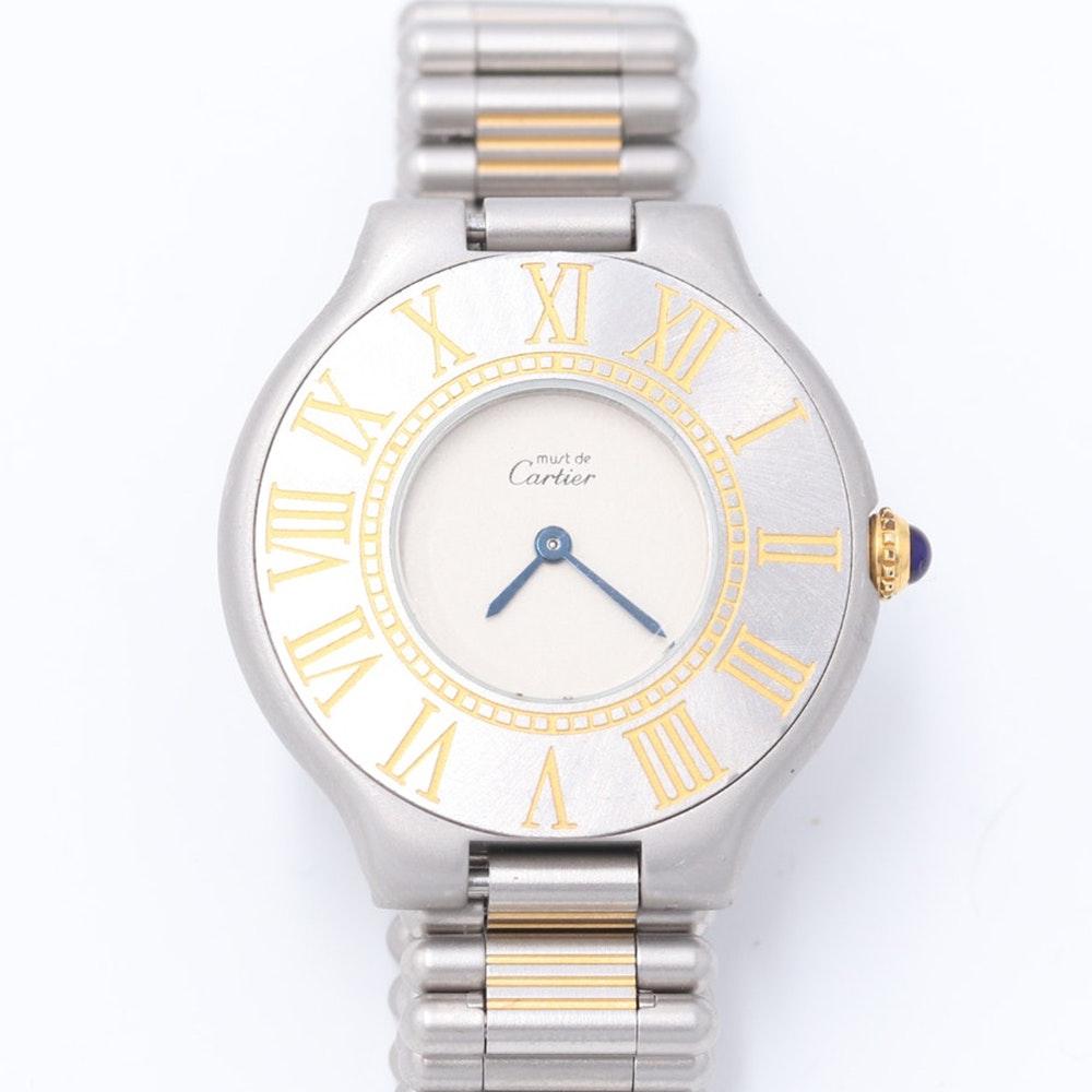Must de Cartier Sterling Silver and 18K Gold Swiss Wristwatch
