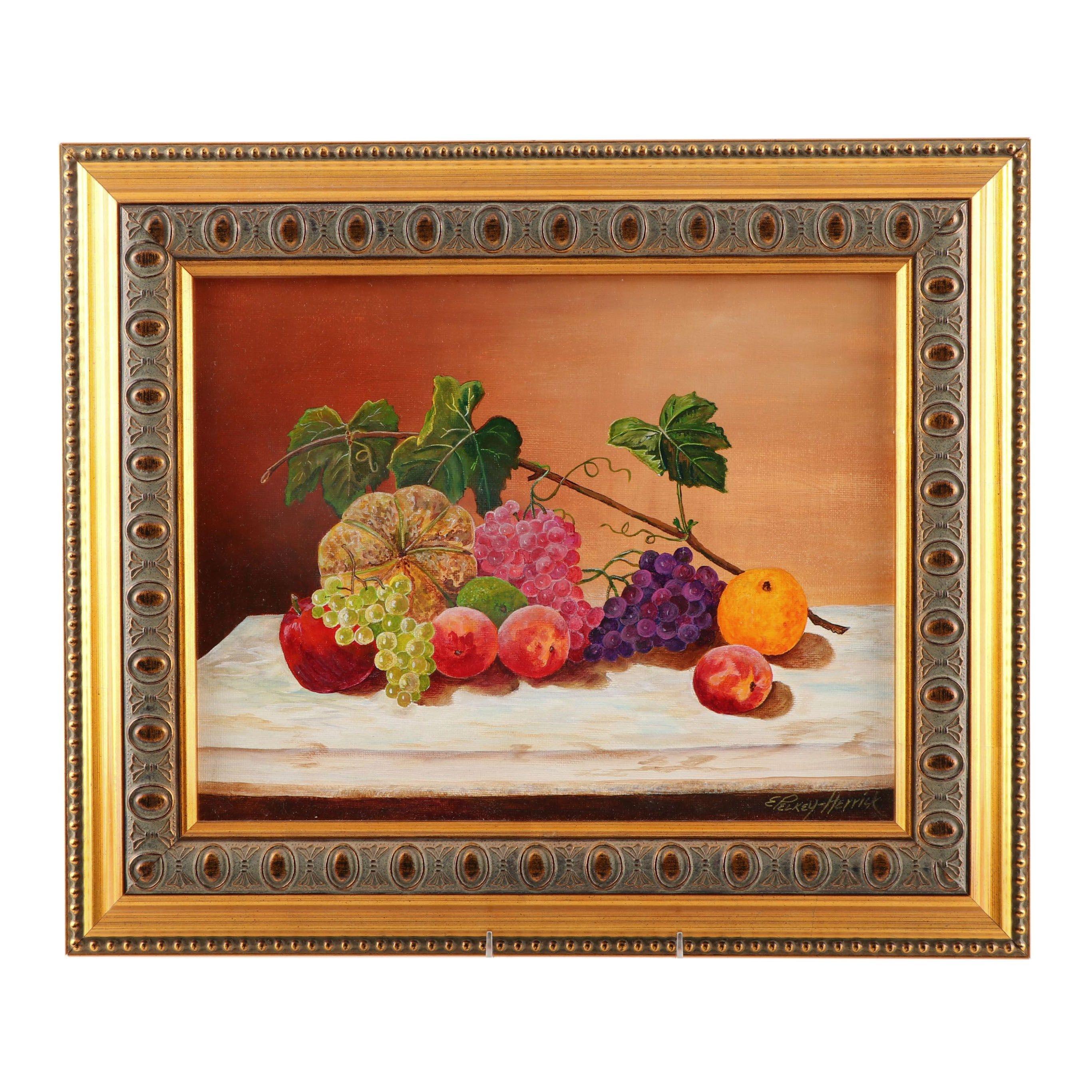 "Elaine Pelkey-Herrick Acrylic Painting ""Still Life w/ Grapes"""