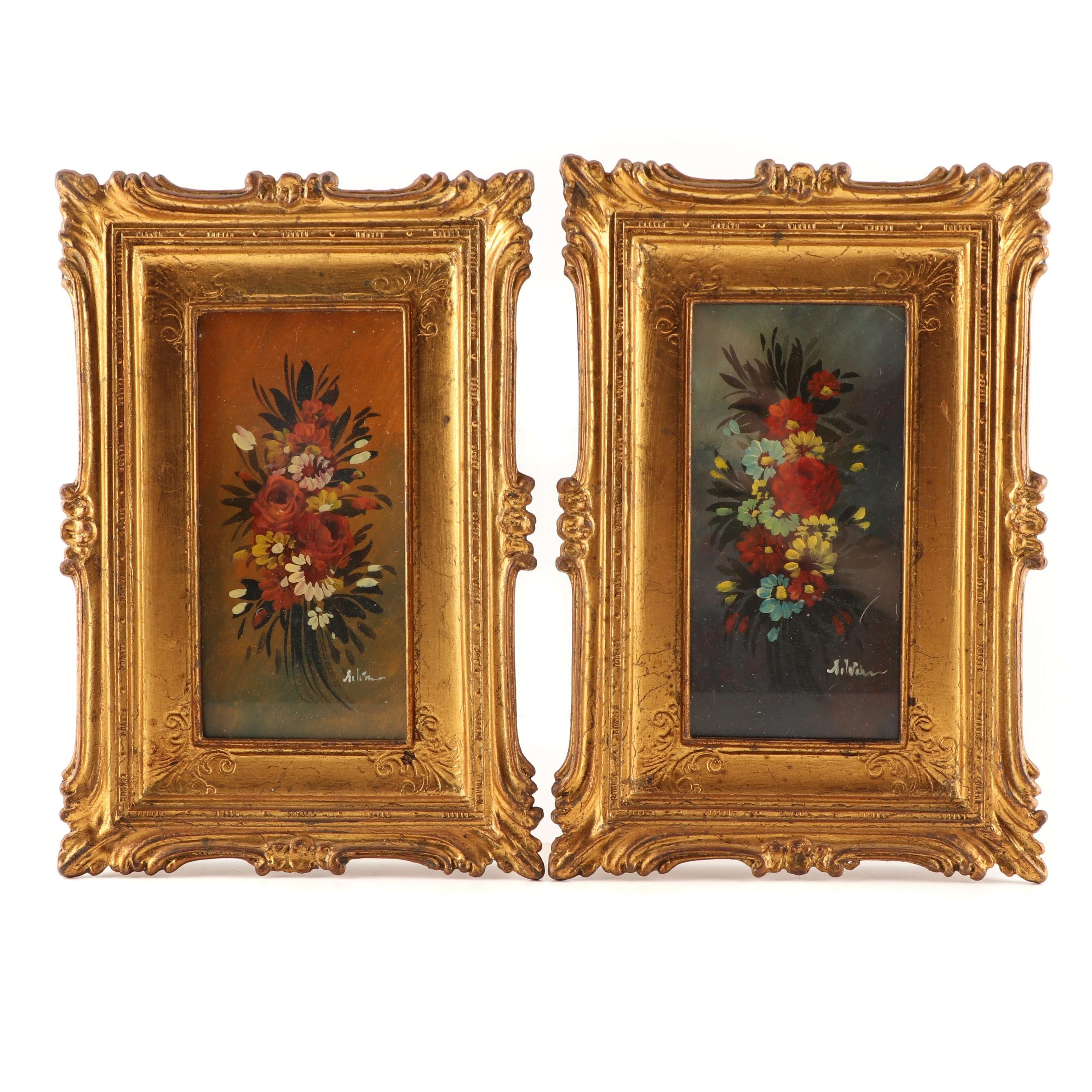 Early 20th Century Italian Foral Oil Paintings