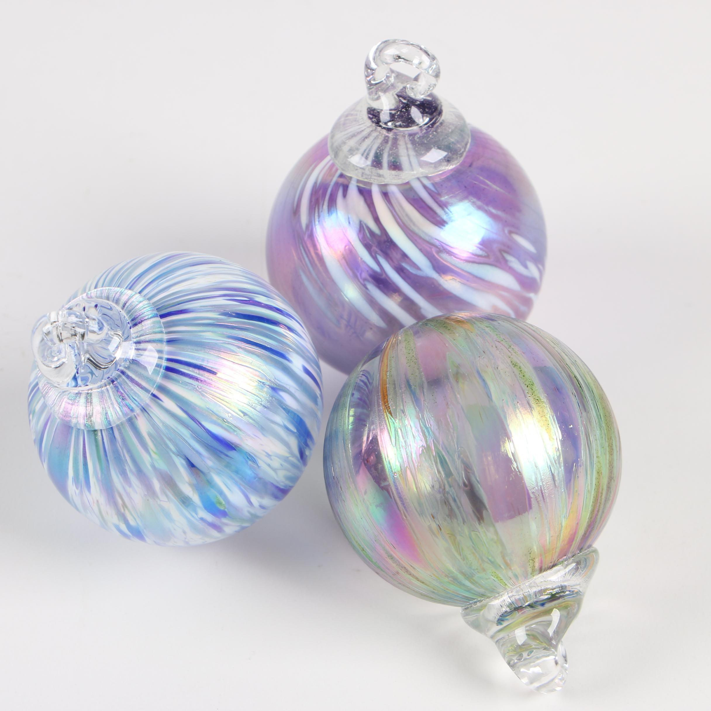 Multicolored Blown Glass Ornaments