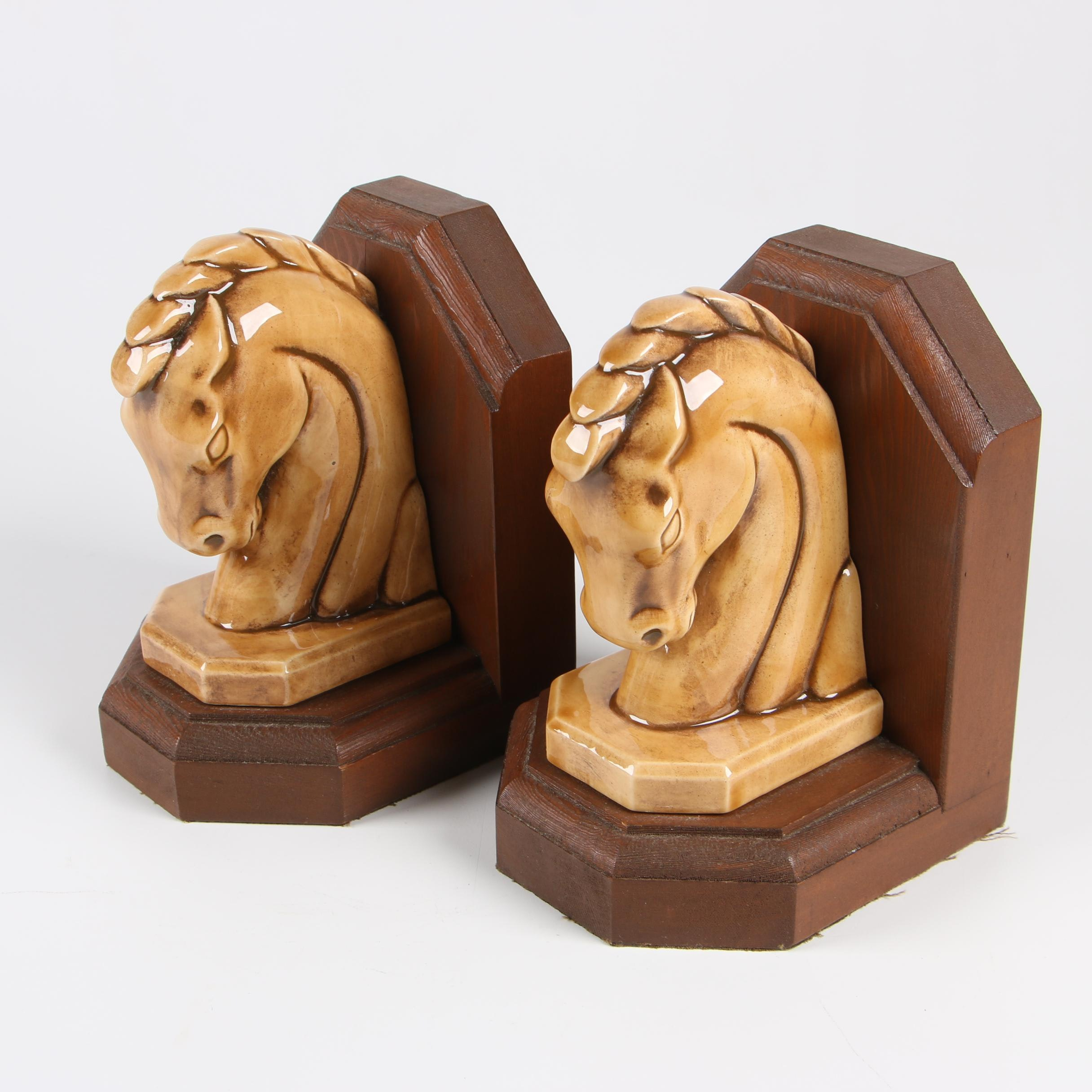 Ceramic an Wood Horse Bust Bookends