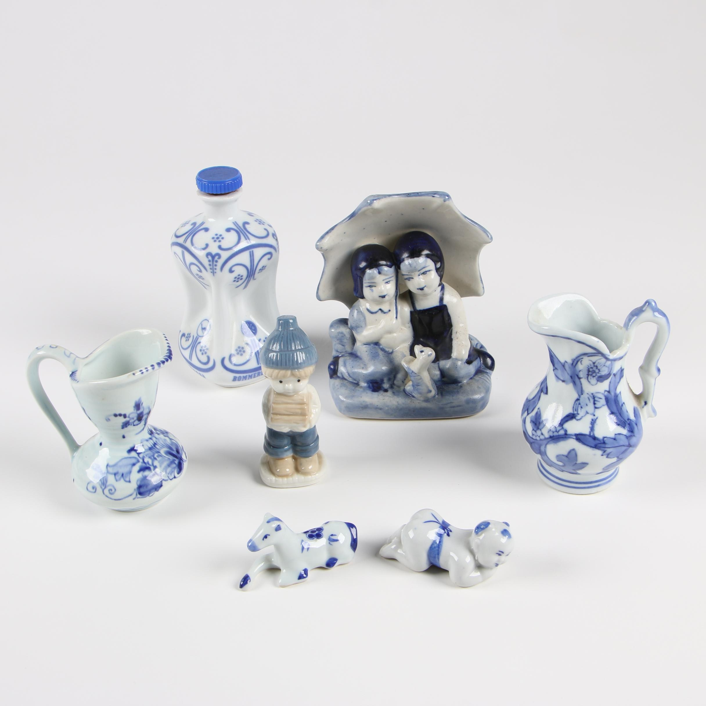 Blue and White Delft Style Pottery and Figurines