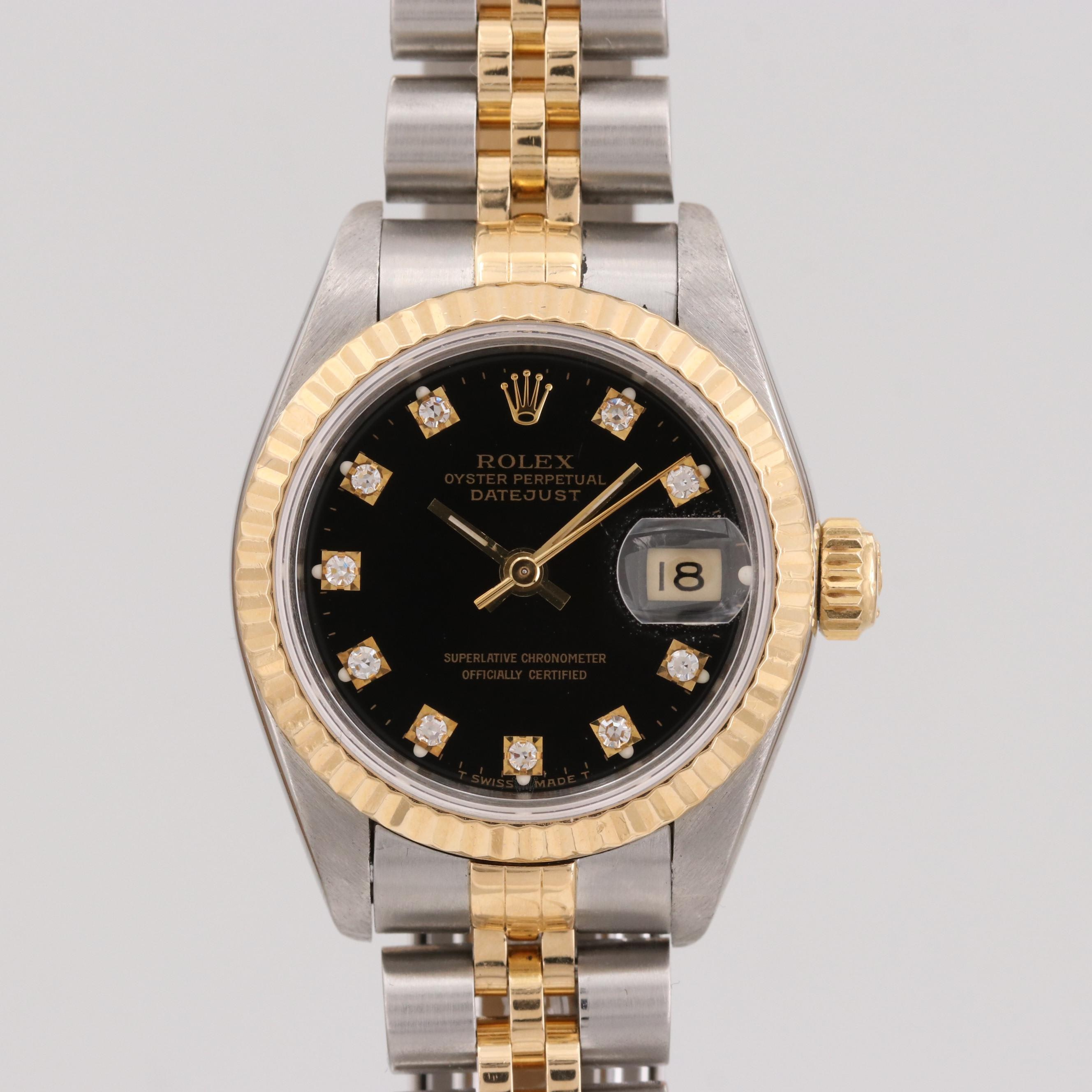 Rolex Datejust Stainless Steel, 18K Yellow Gold and Diamonds Wristwatch, 1993