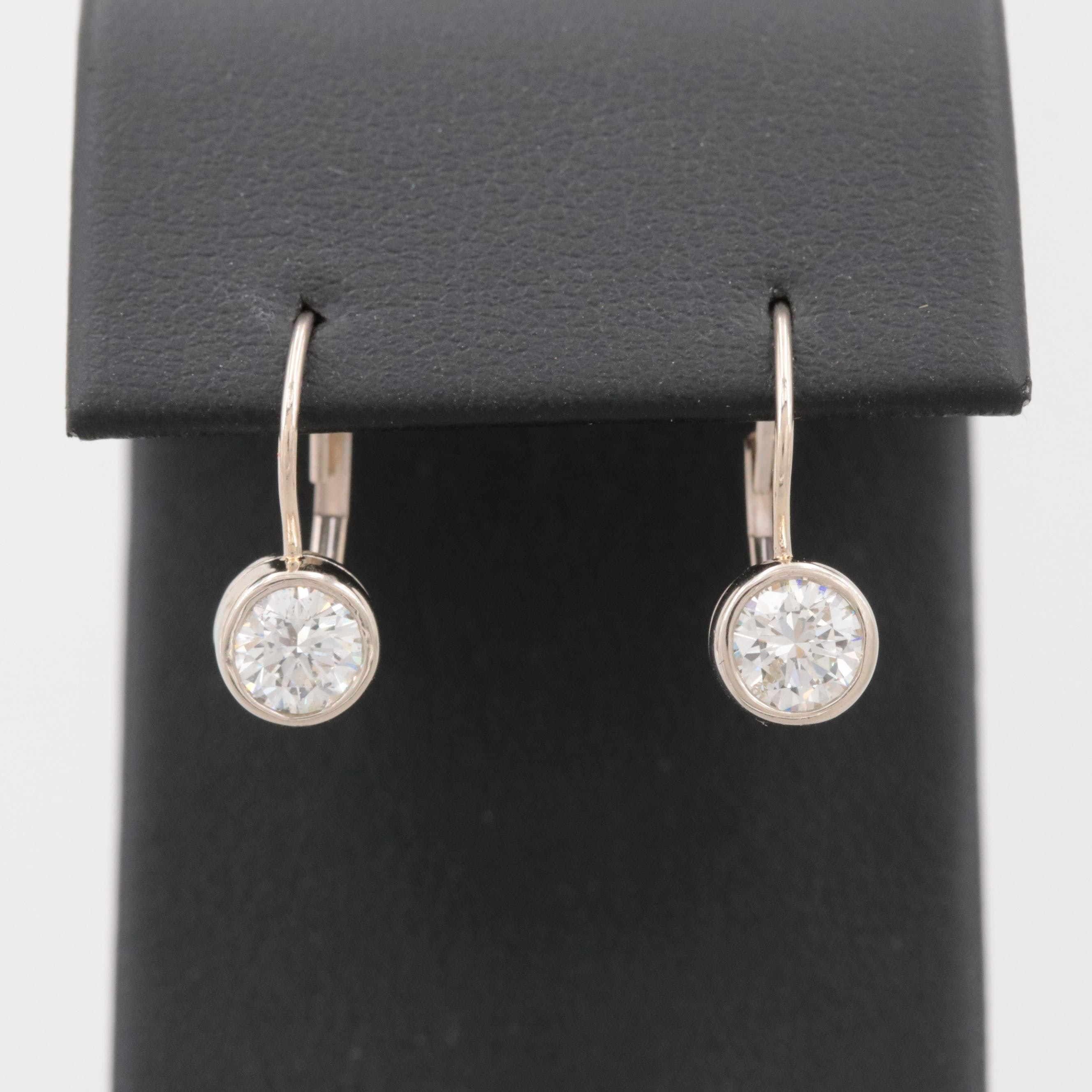 14K White Gold 1.34 CTW Diamond Earrings