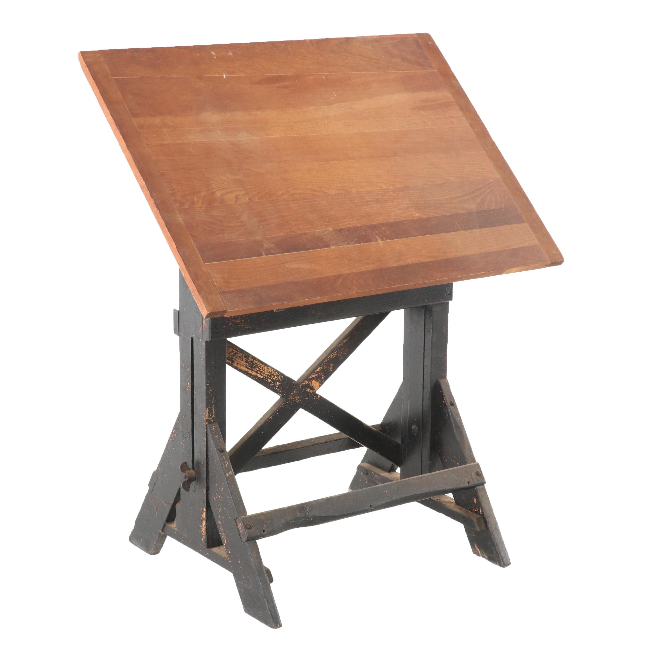 Industrial Wooden Drafting Table, Mid 20th Century