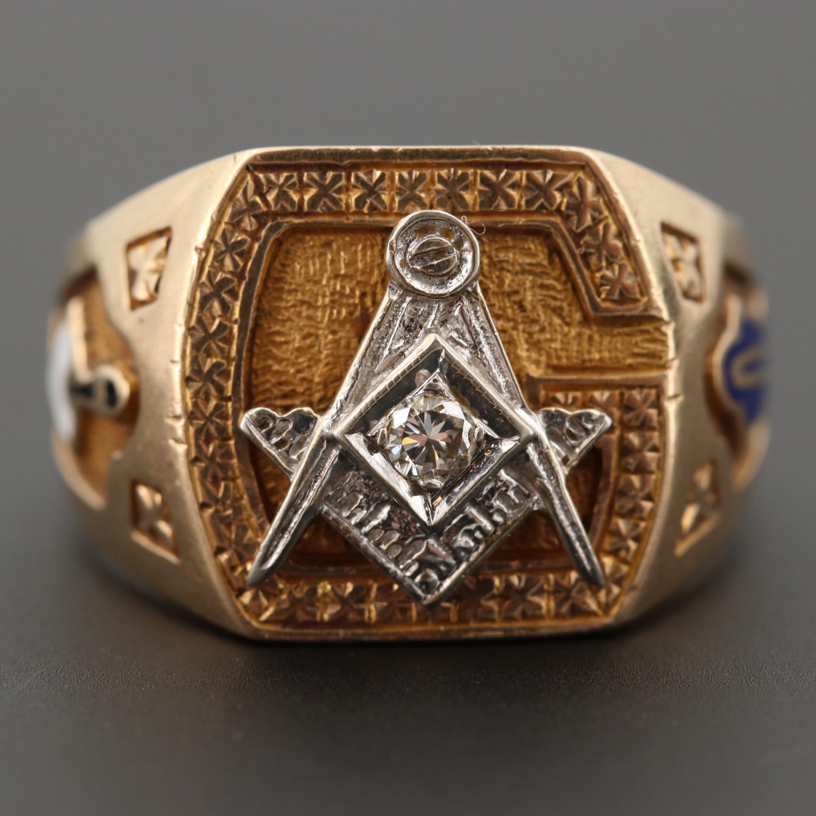 10K Yellow Gold Diamond Masonic Ring with 14K White Gold Crest