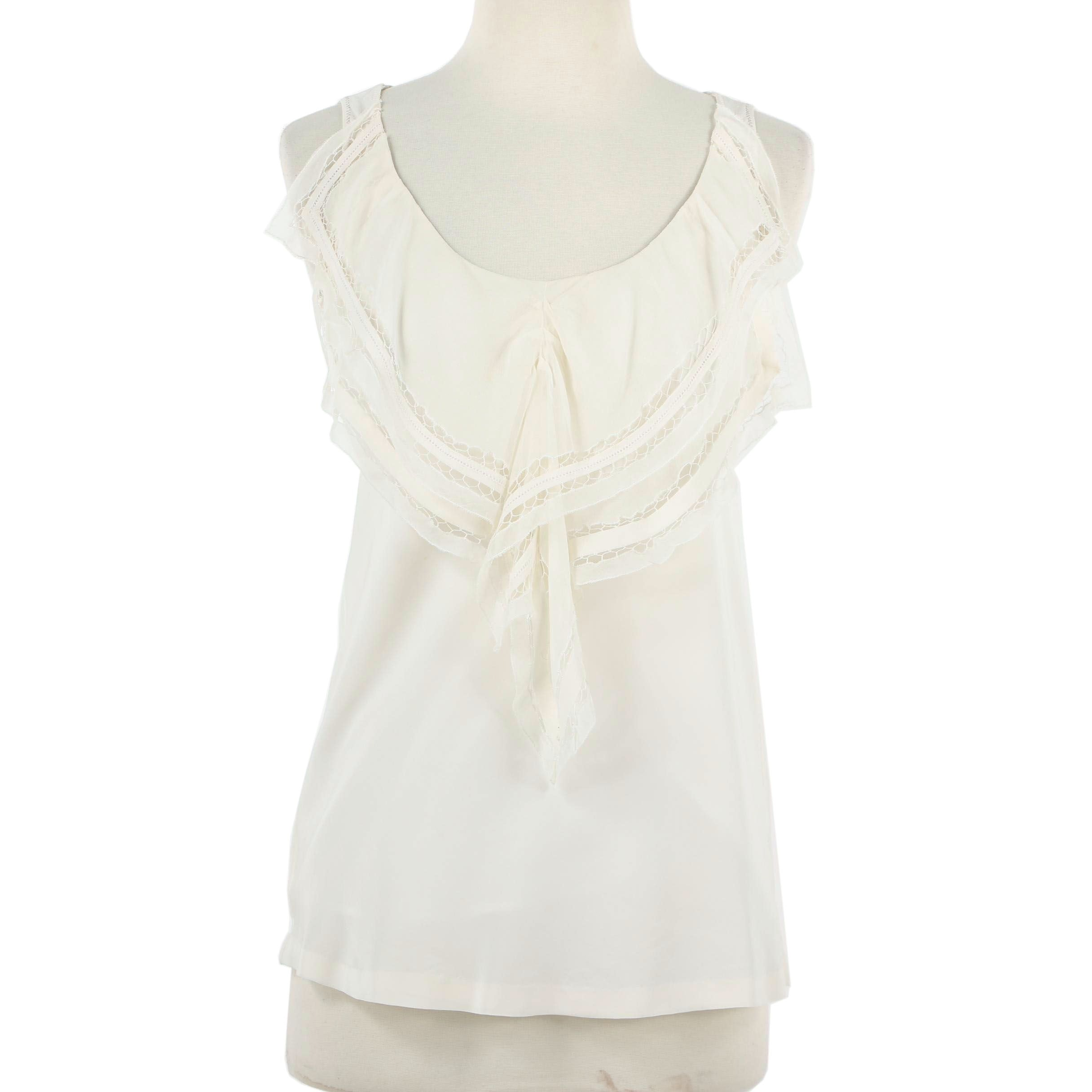 Hanii Y Off-White Silk Ruffled Bib Sleeveless Top