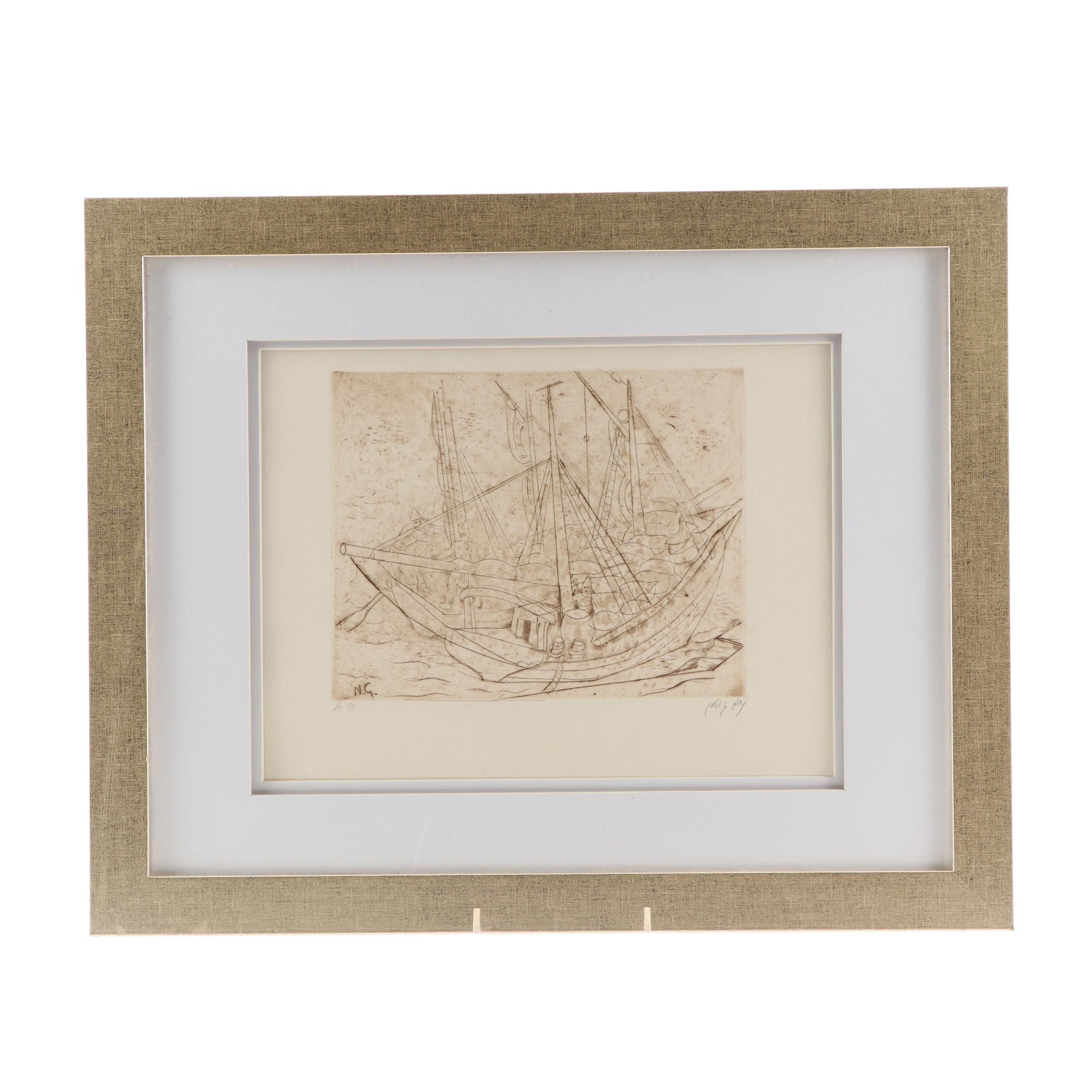 "Nachum Gutman Etching ""Ship at Jaffa Harbor"""
