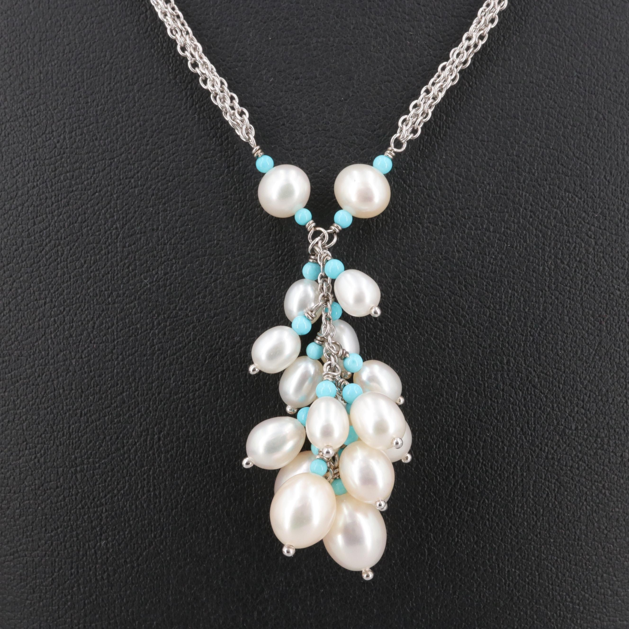Lagos Sterling Silver Cultured Pearl and Turquoise Triple Chain Necklace