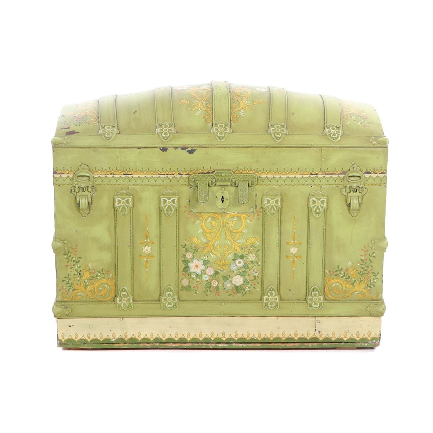 Late Victorian Painted Wood Blanket Chest, 1920s