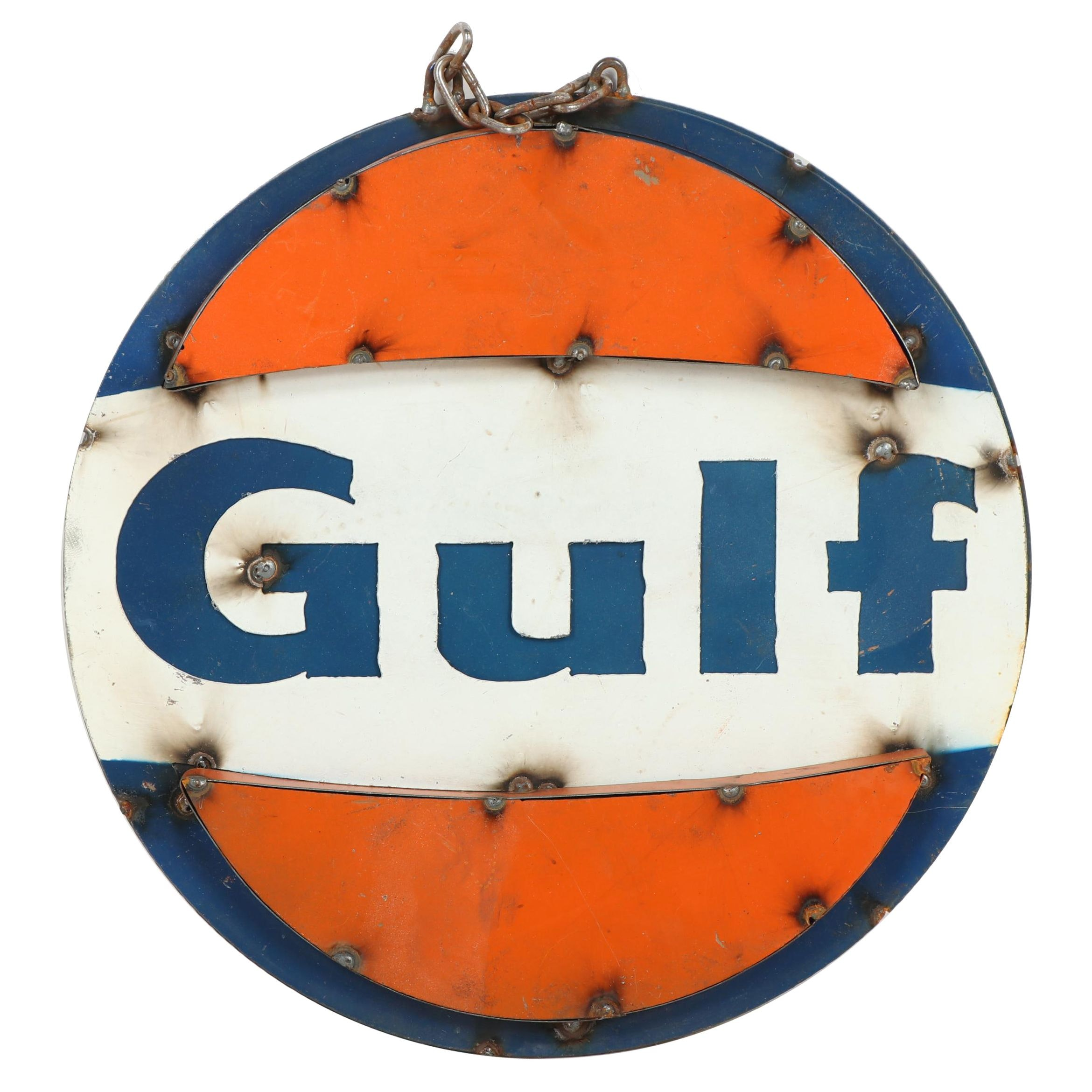 Handcrafted Metal Gulf Oil Sign