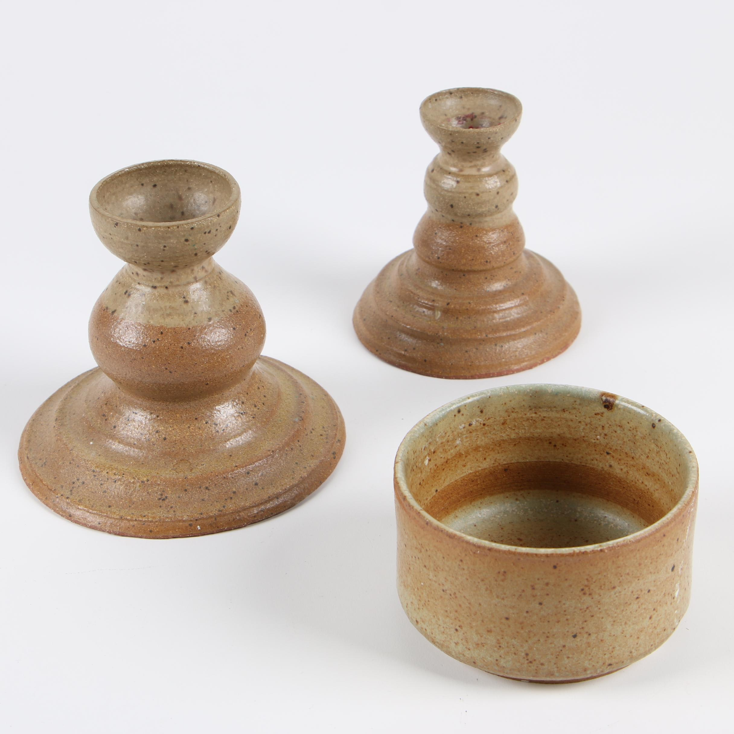 American Art Pottery Candlesticks and Bowl, Late 20th Century