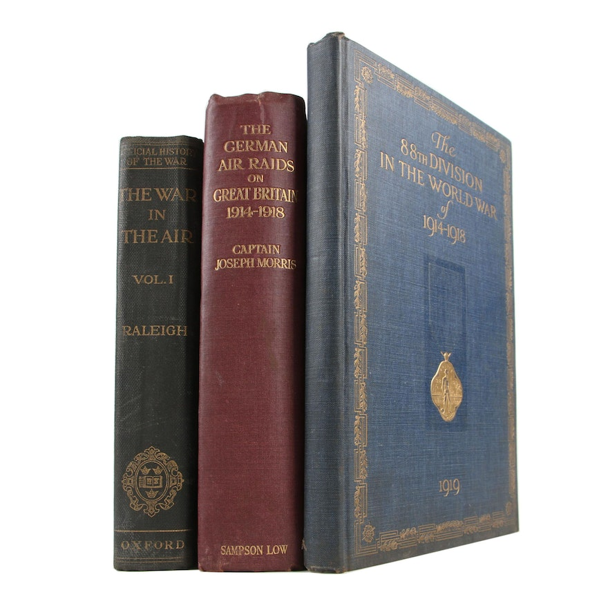 "Military Aviation Books featuring 1922 ""The War in the Air"" by Walter Raleigh"