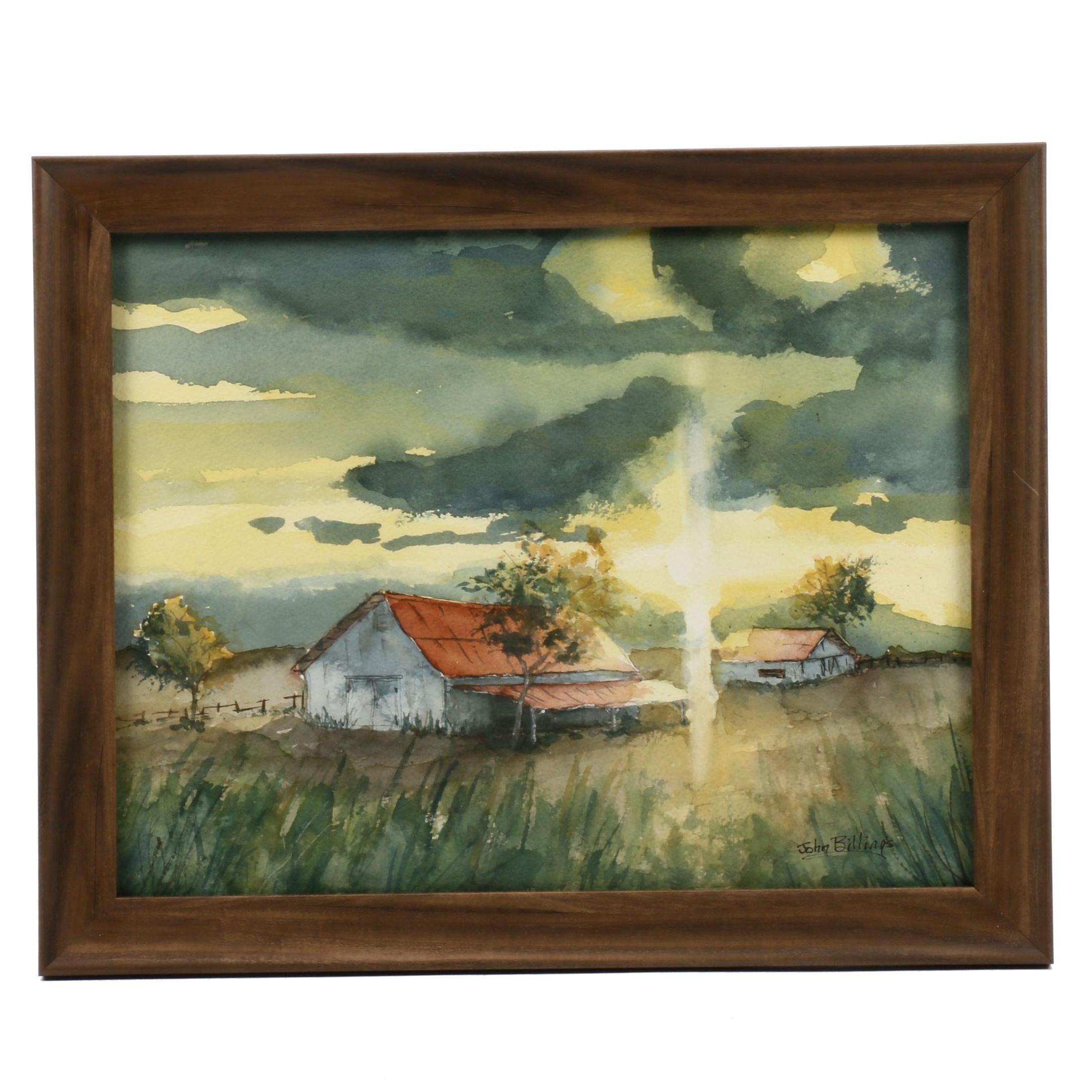 John Billings Watercolor Painting of Barn at Sunset