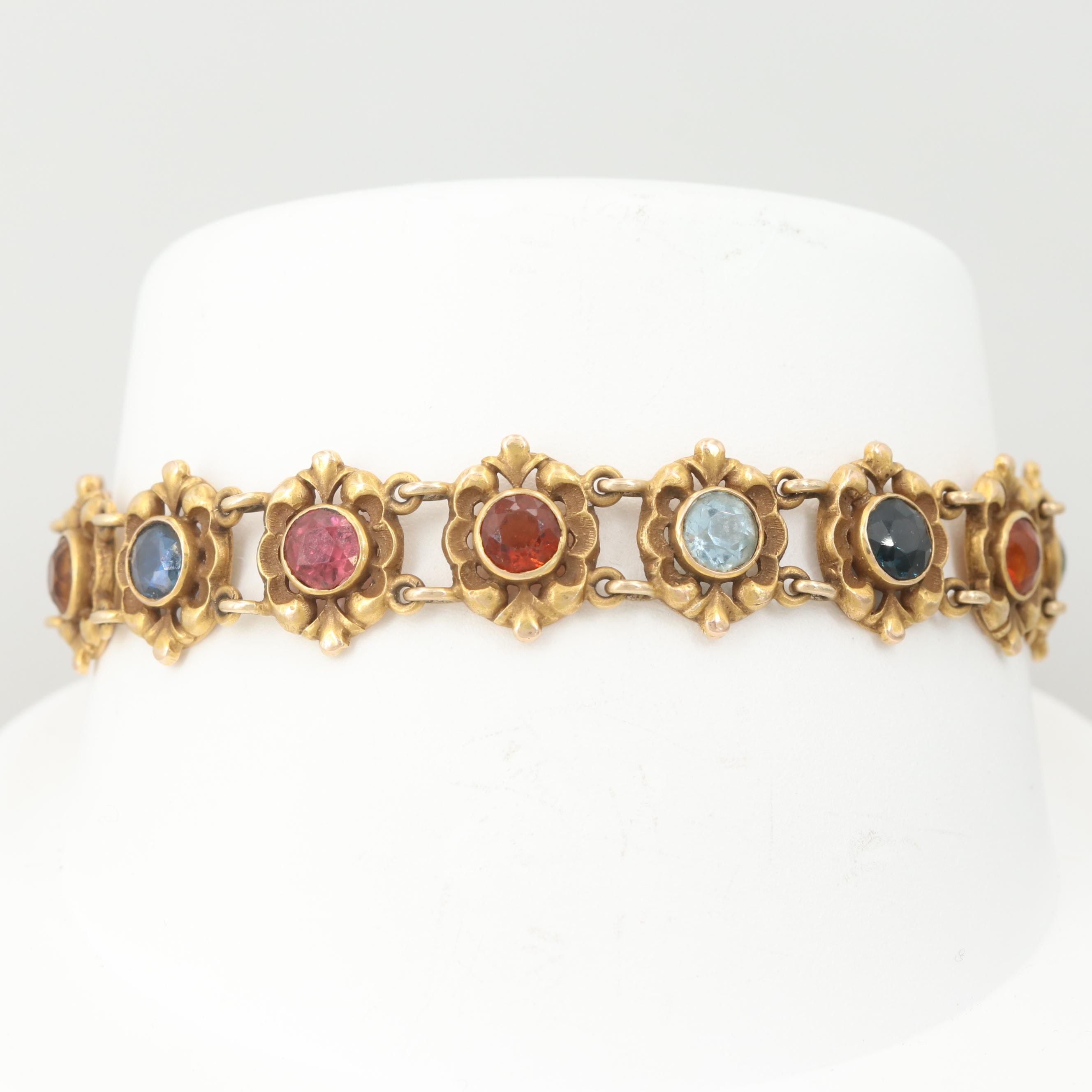 Vintage 14K Yellow Gold Sapphire, Aquamarine and Gemstone Bracelet