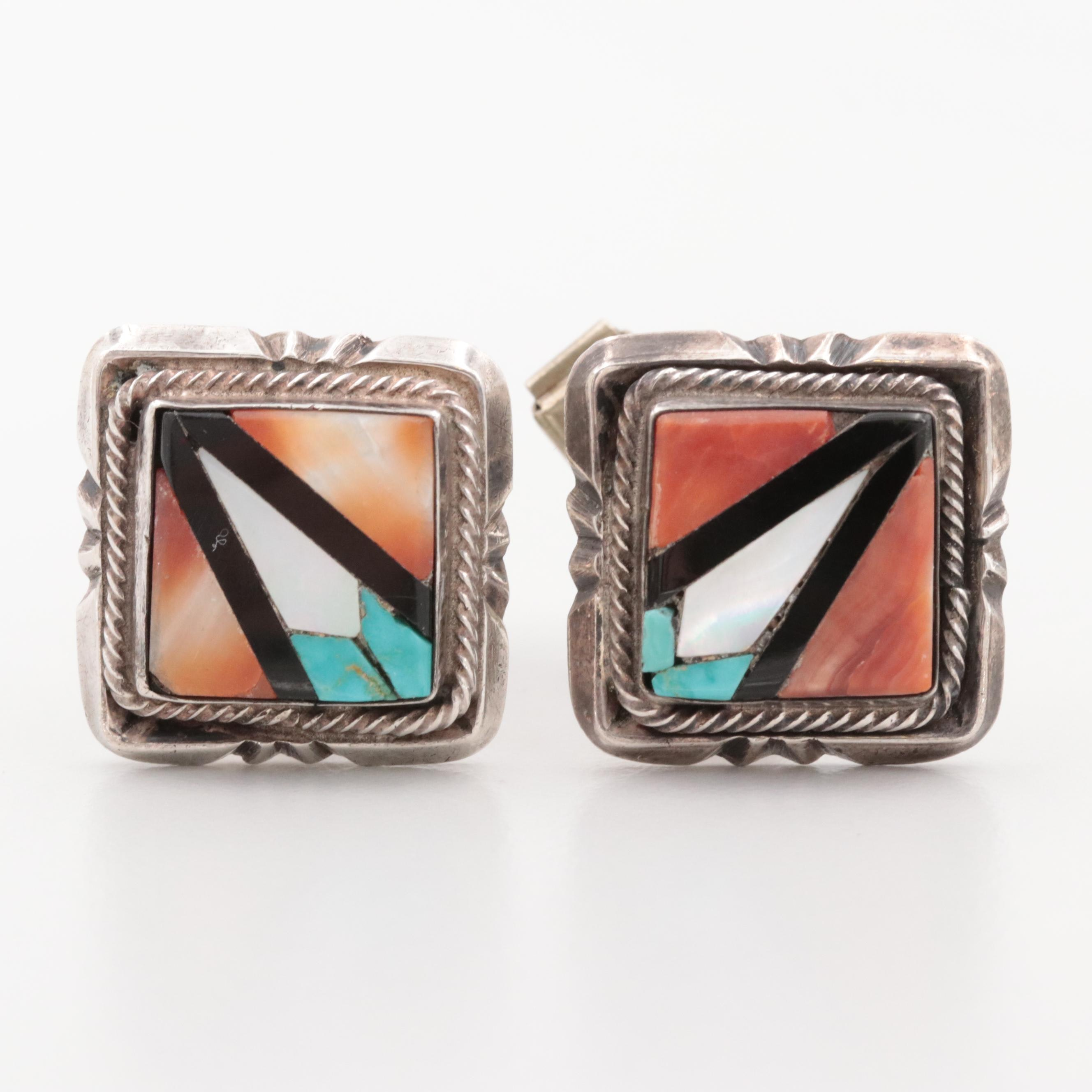 Sterling and Silver Tone Spiny Oyster, Turquoise and Mother of Pearl Cufflinks