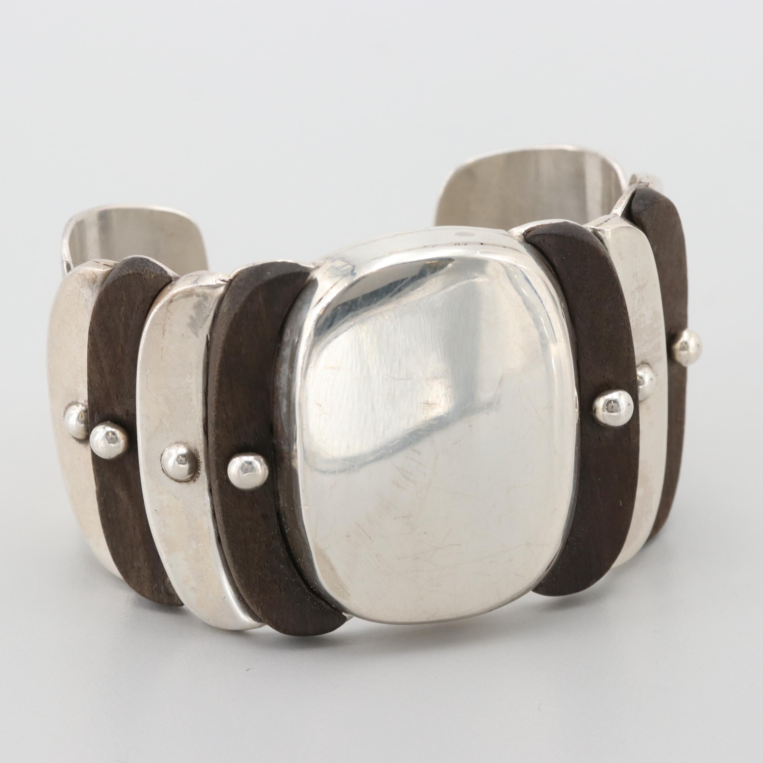 William Spratling Sterling Silver and Wood Cuff Bracelet