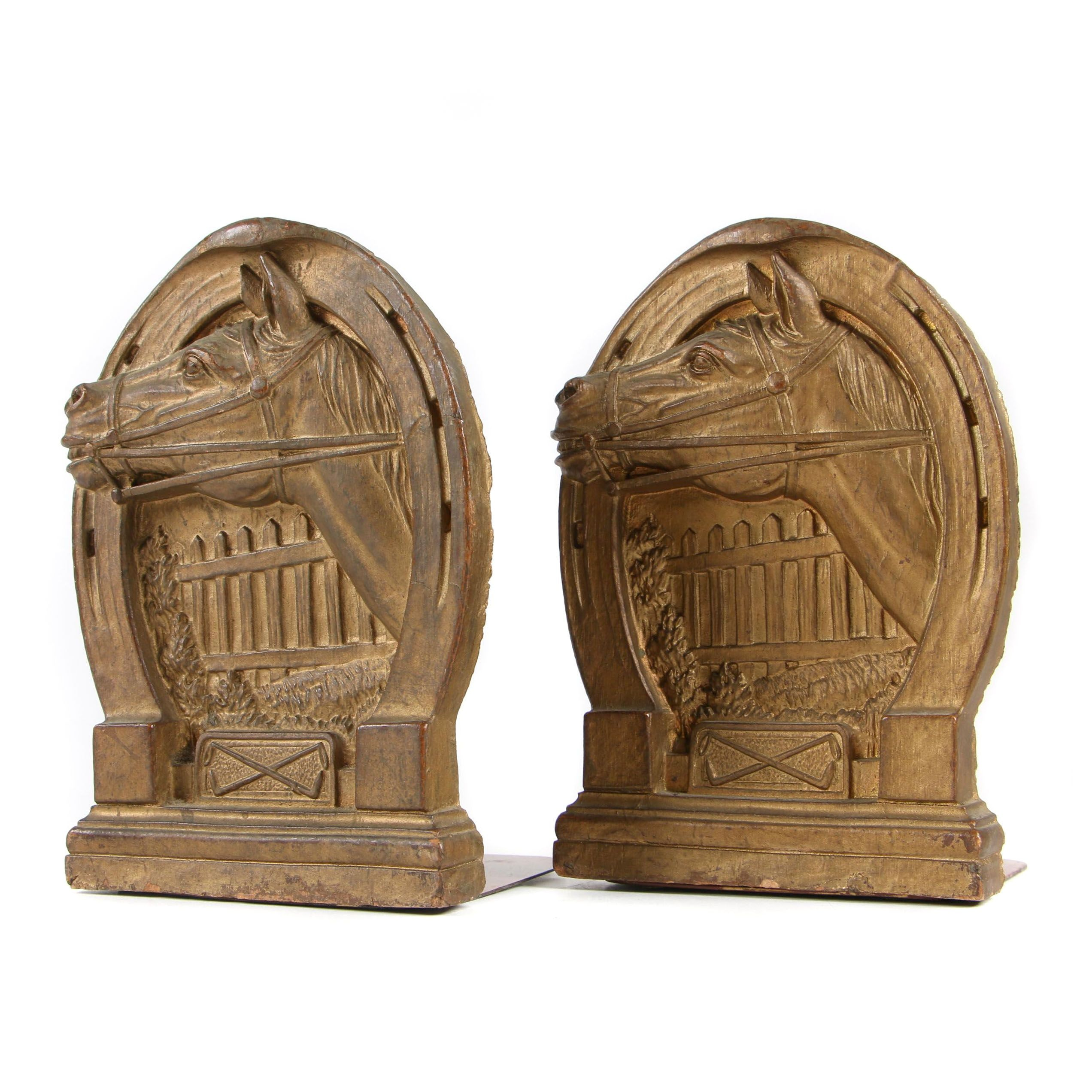 Equestrian Bookends in Brass Finish, Late 20th Century