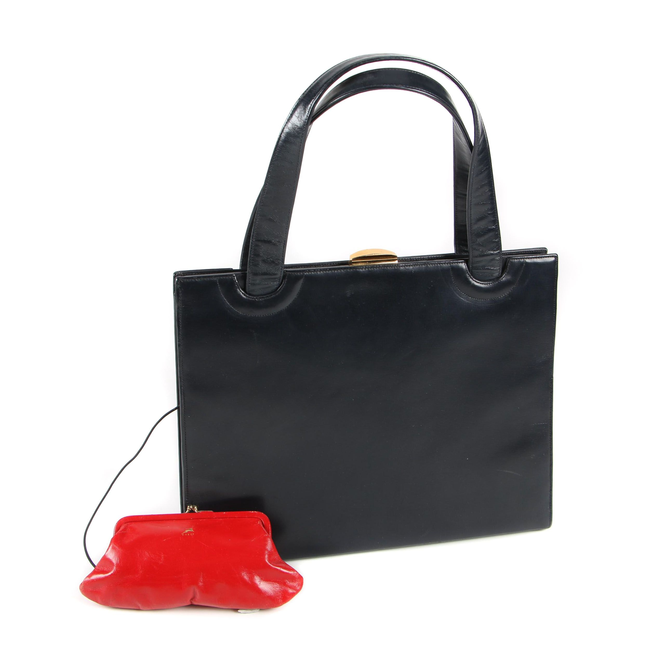 Koret Black and Red All Leather Shoulder Bag with Gold Tone Clasp, 1960s Vintage