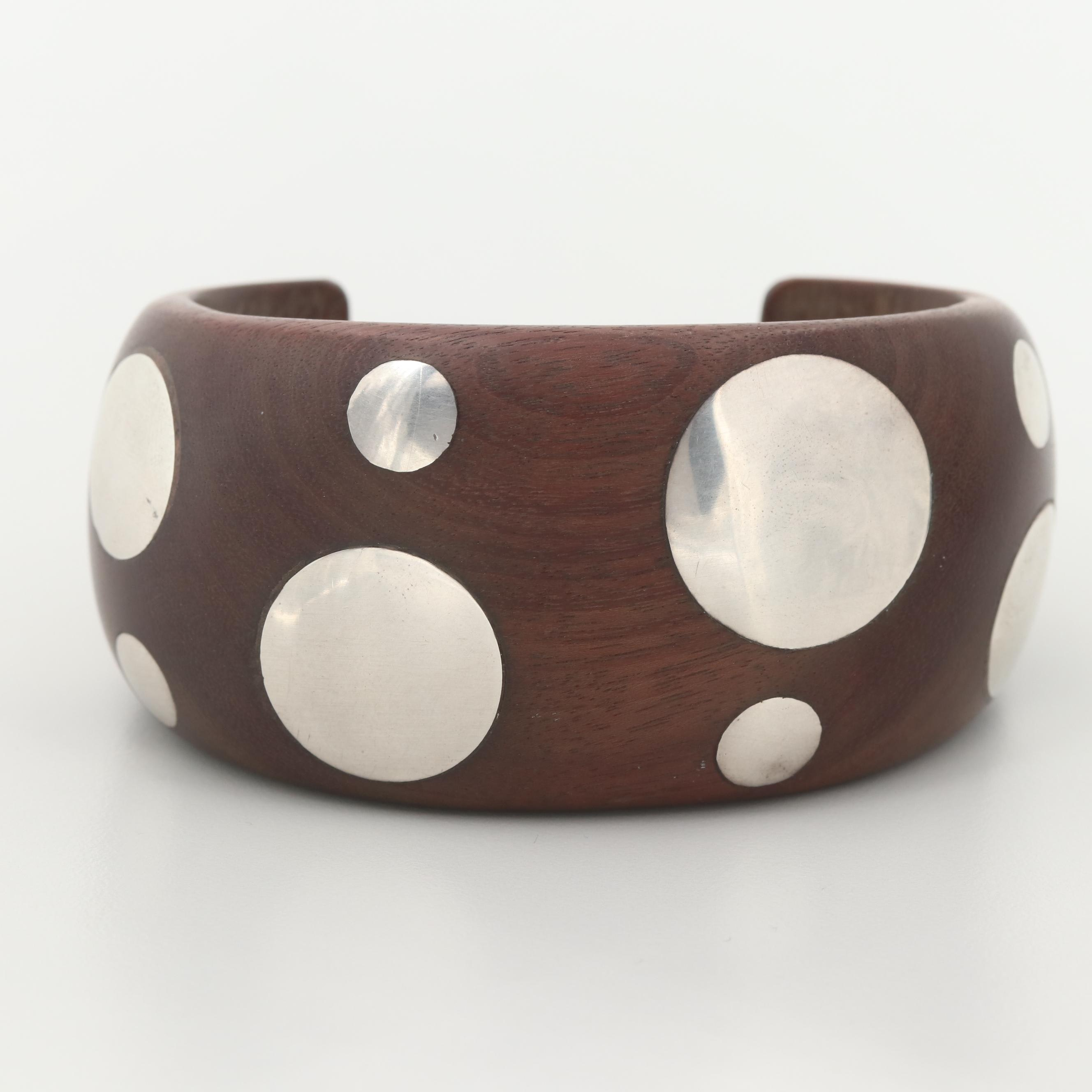 William Spratling Wood Cuff Bracelet with Sterling Silver Polka Dots