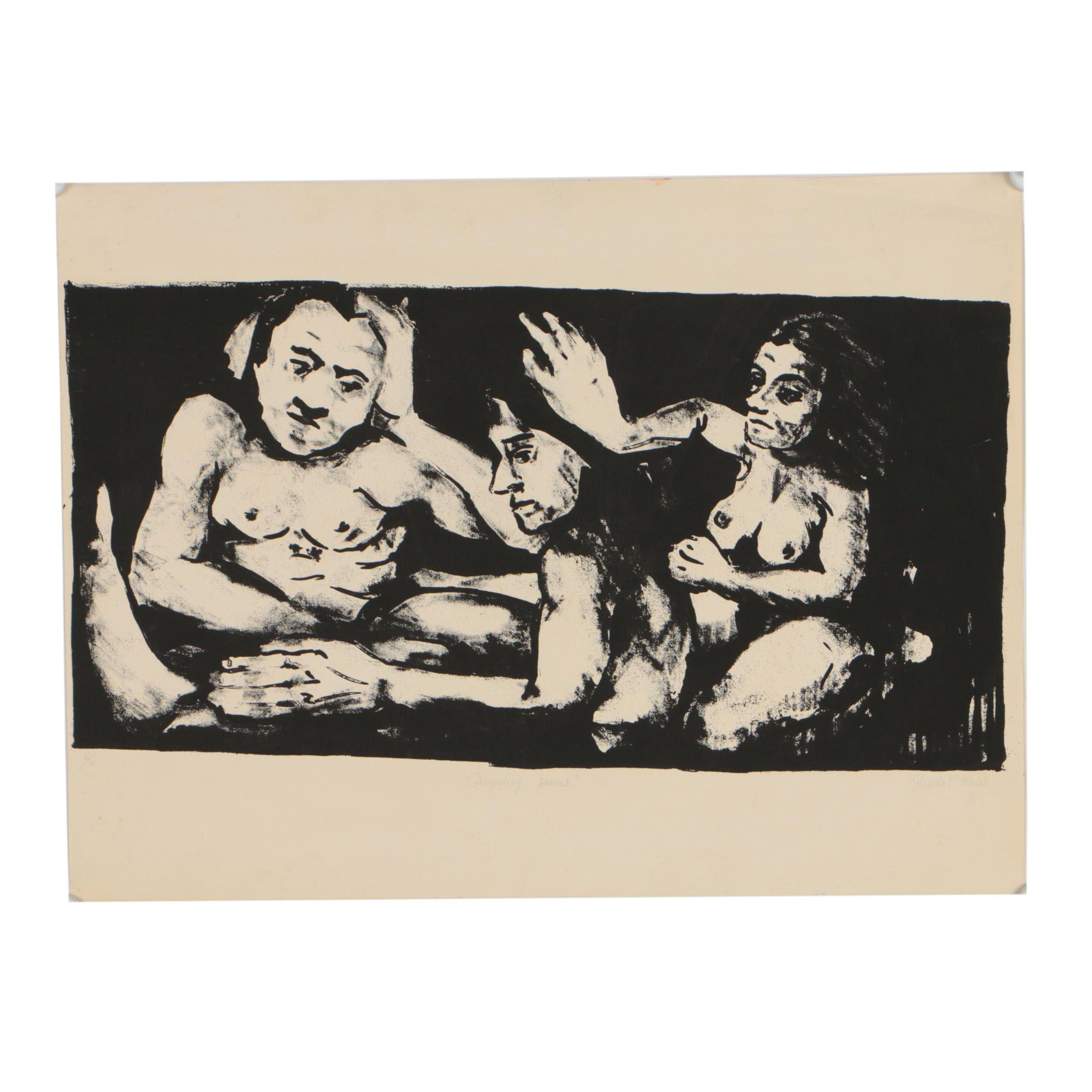 """Ricardo Morin 1976 Lithograph """"Disipando Tristezas (Dissipating Sorrows)"""""""