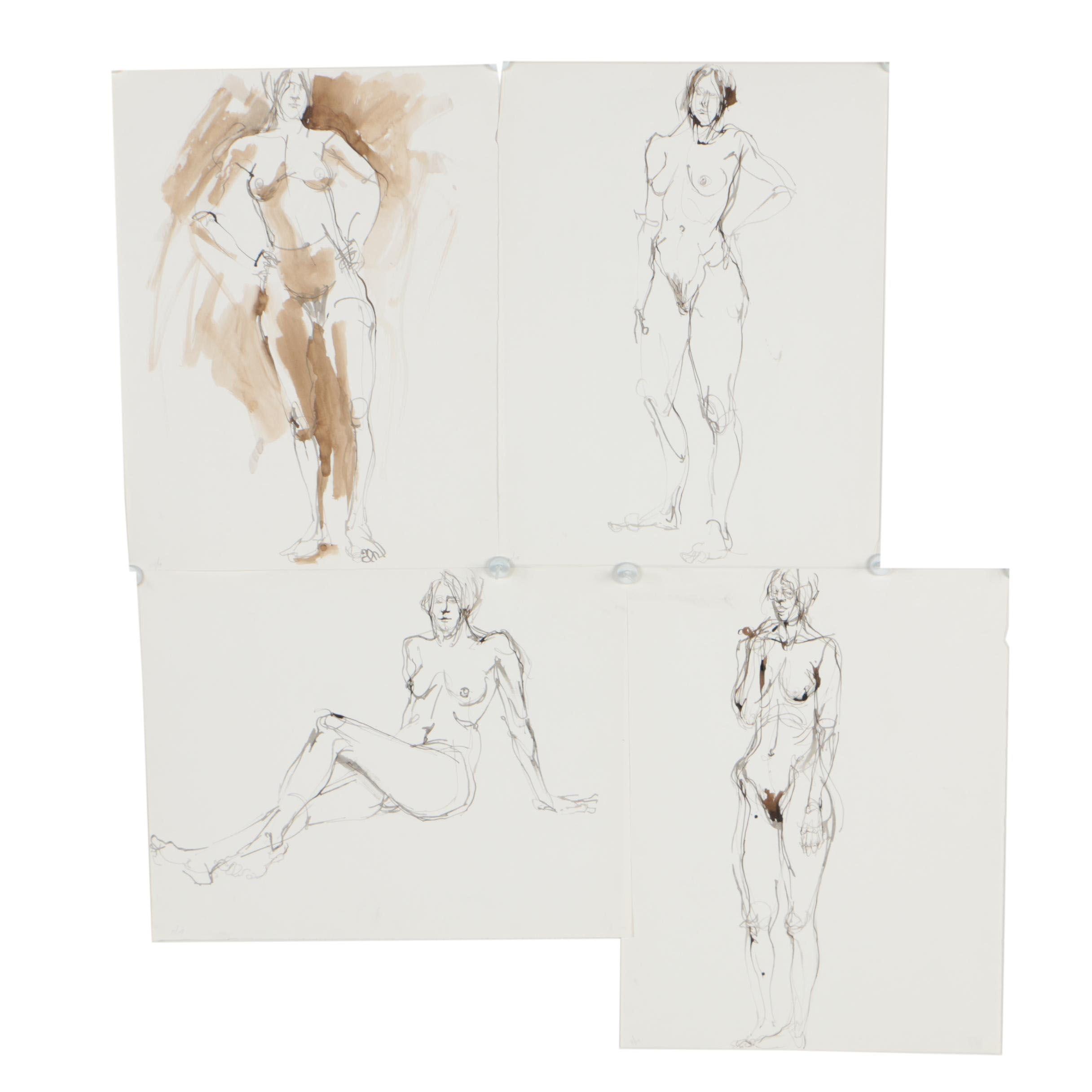 John Tuska Figural Ink Paintings of Female Nudes