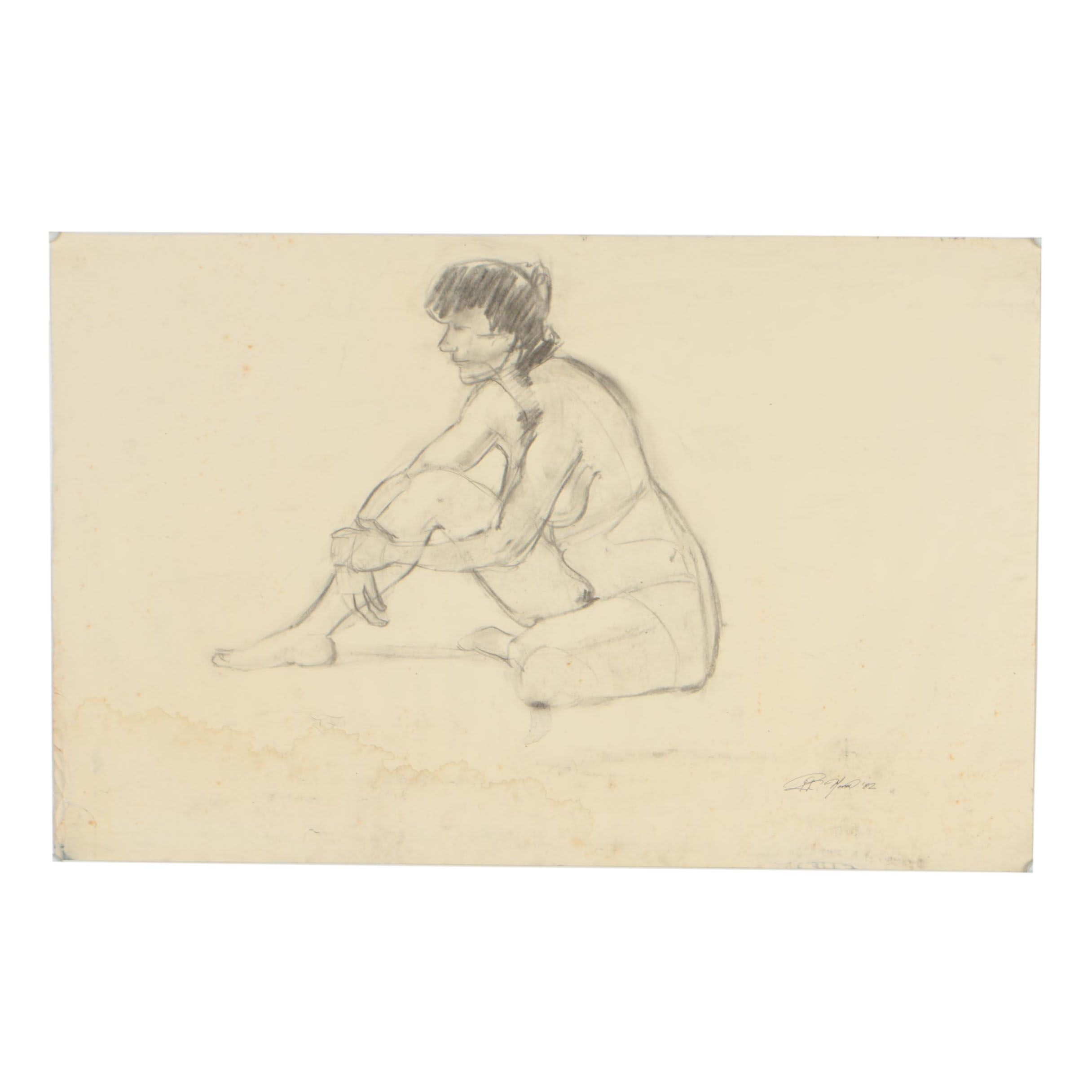 Ricardo Morin 1982 Charcoal Drawing of Female Nude