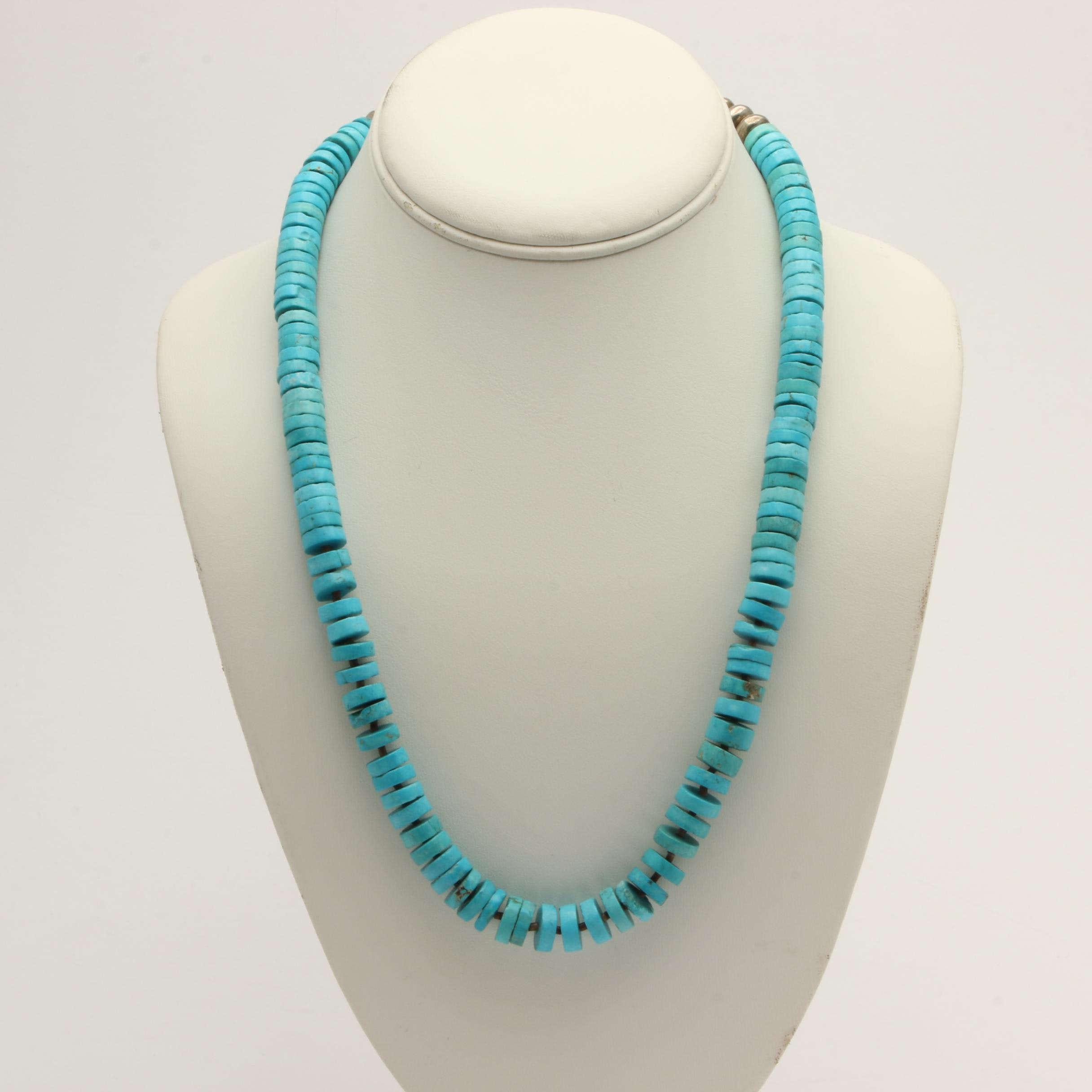 Silver Tone Turquoise Bead Necklace