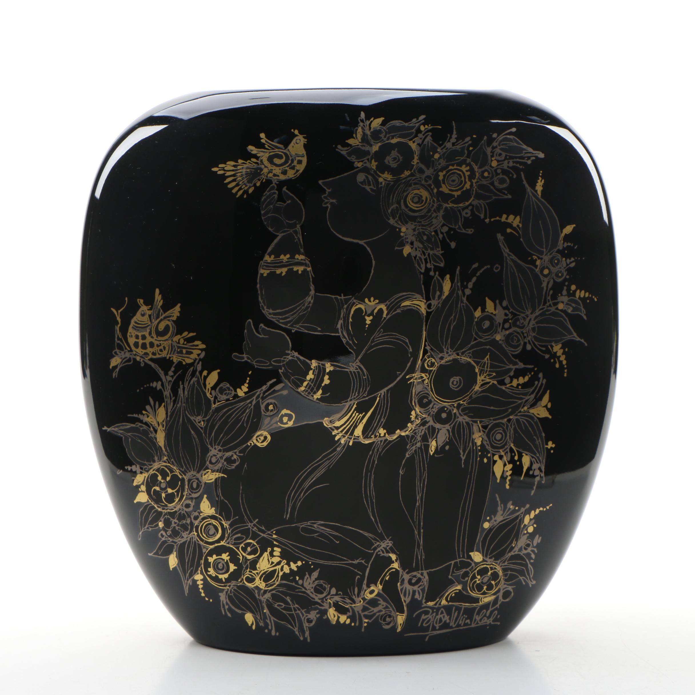 """Bjørn Wiinblad for Rosenthal """"Samuramat"""" Black Porcelain Pillow Vase"""