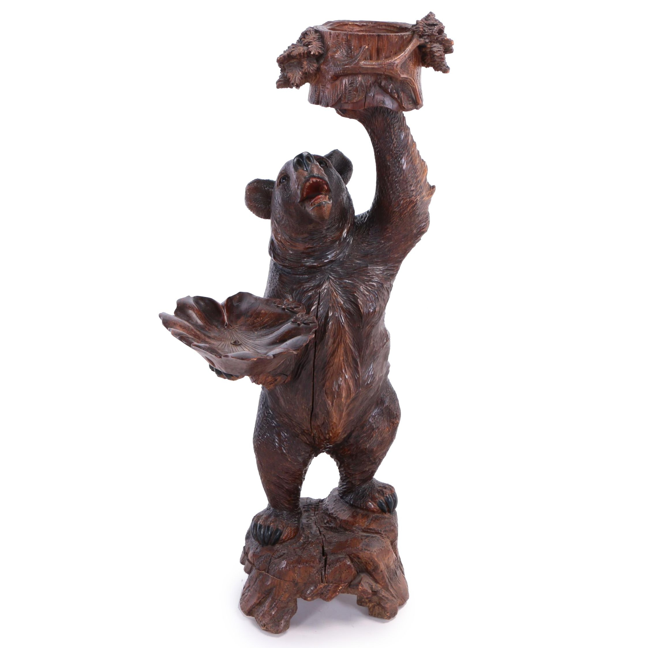 German Figural Black Forest Carved Bear Stand