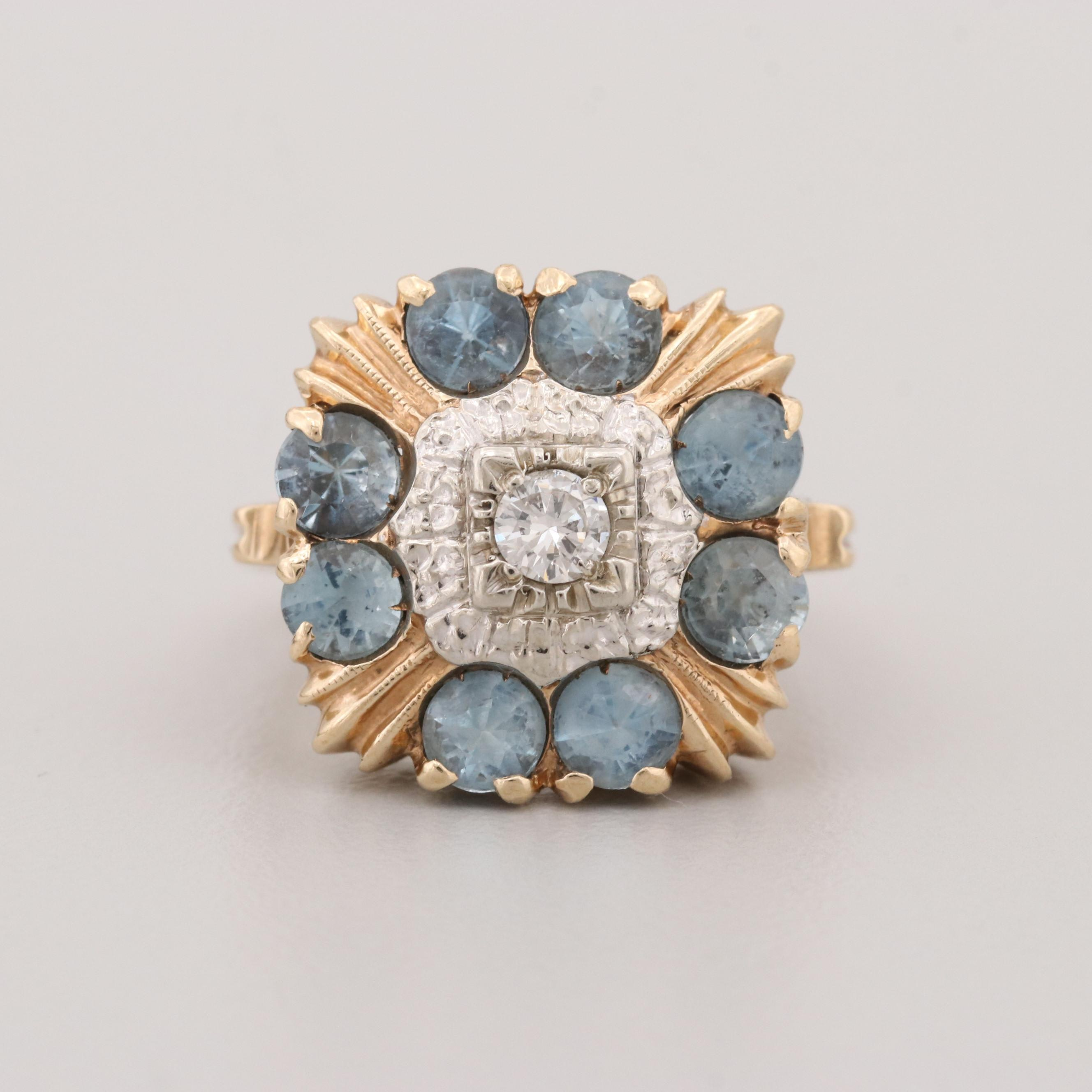 10K Yellow Gold Aquamarine and Diamond Ring with 14K White Gold Accents
