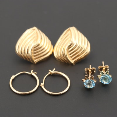 97eb55bb6 Pair of 14K Yellow Gold Gucci Link Omega Back Earrings | EBTH