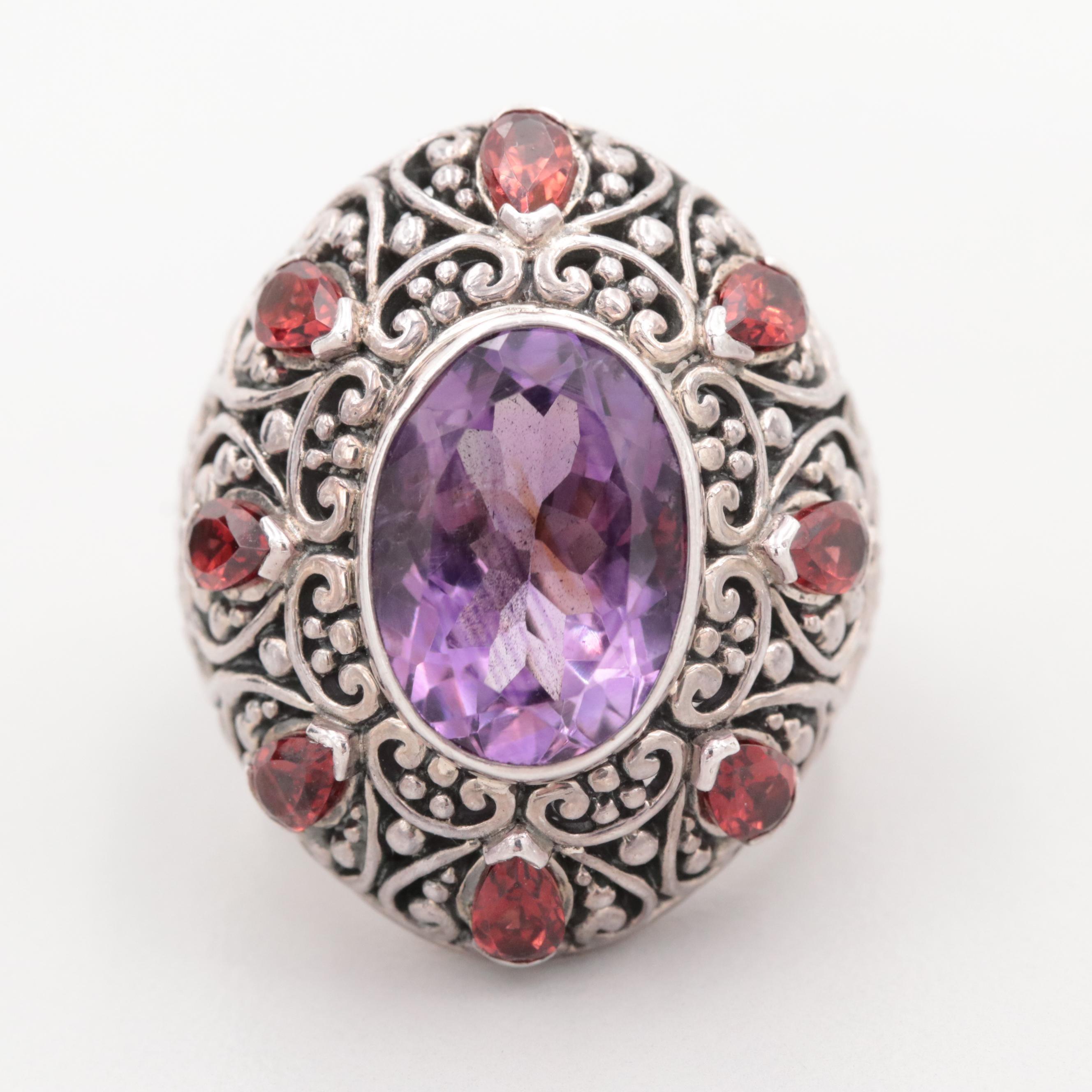 Robert Manse Sterling Silver Amethyst and Garnet Ring