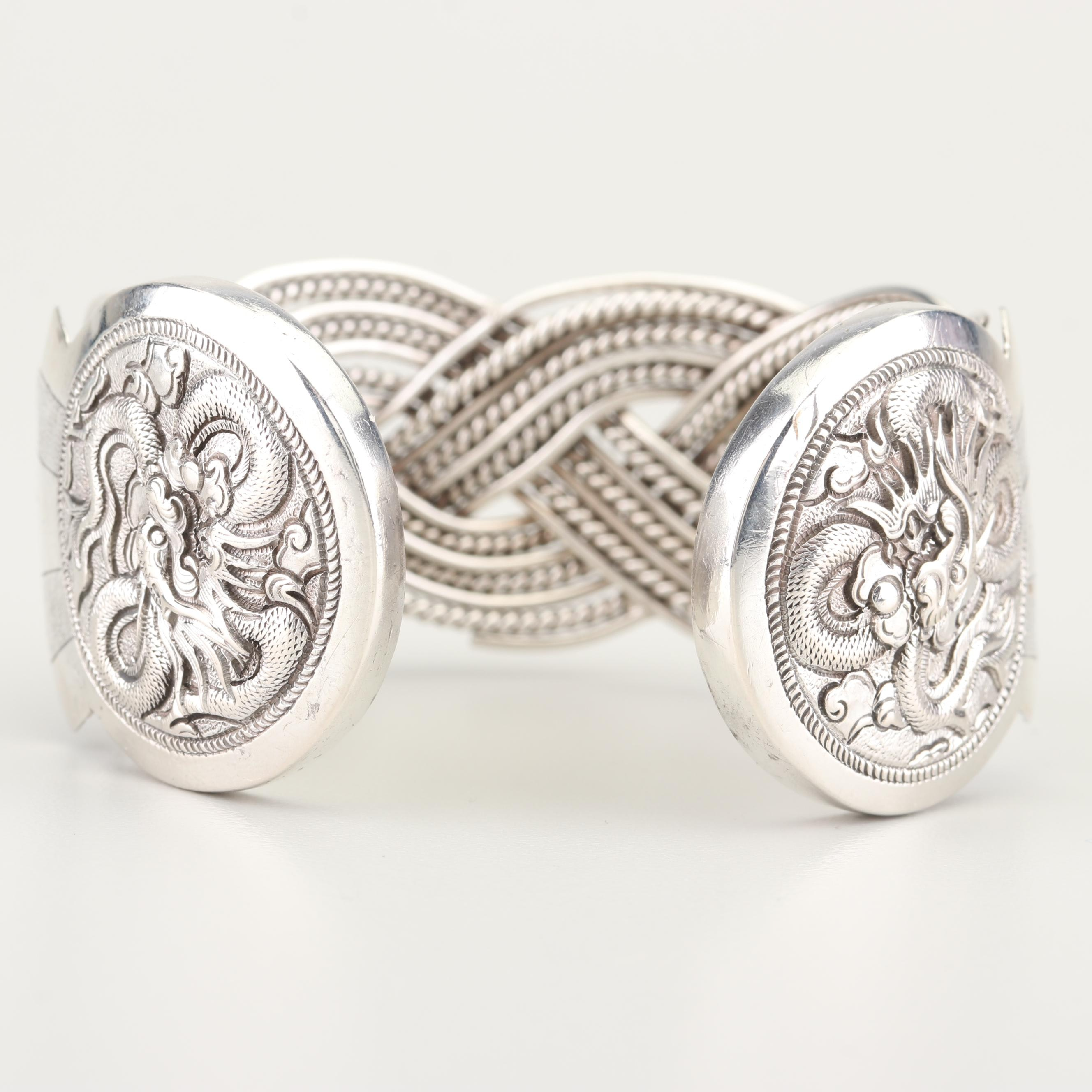 Sterling Silver Woven and Carved Cuff Bracelet