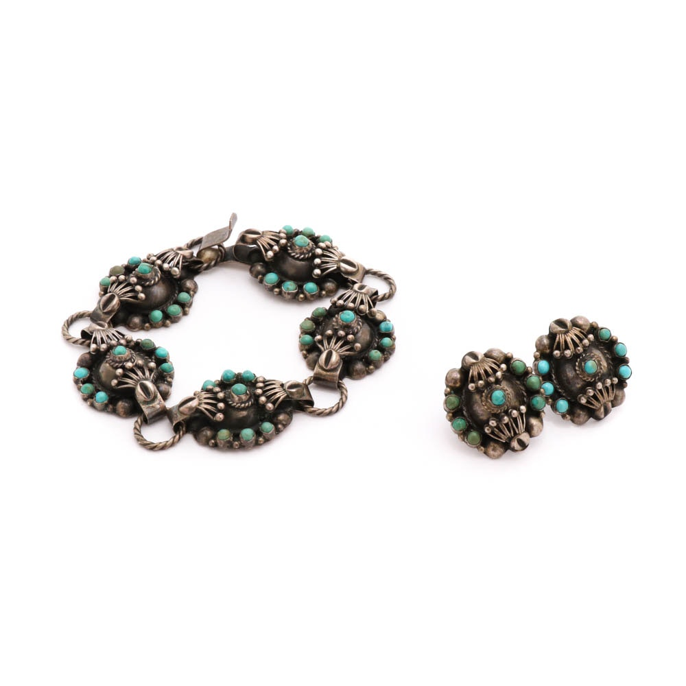 800 Silver Dyed Turquoise Bracelet and Earrings