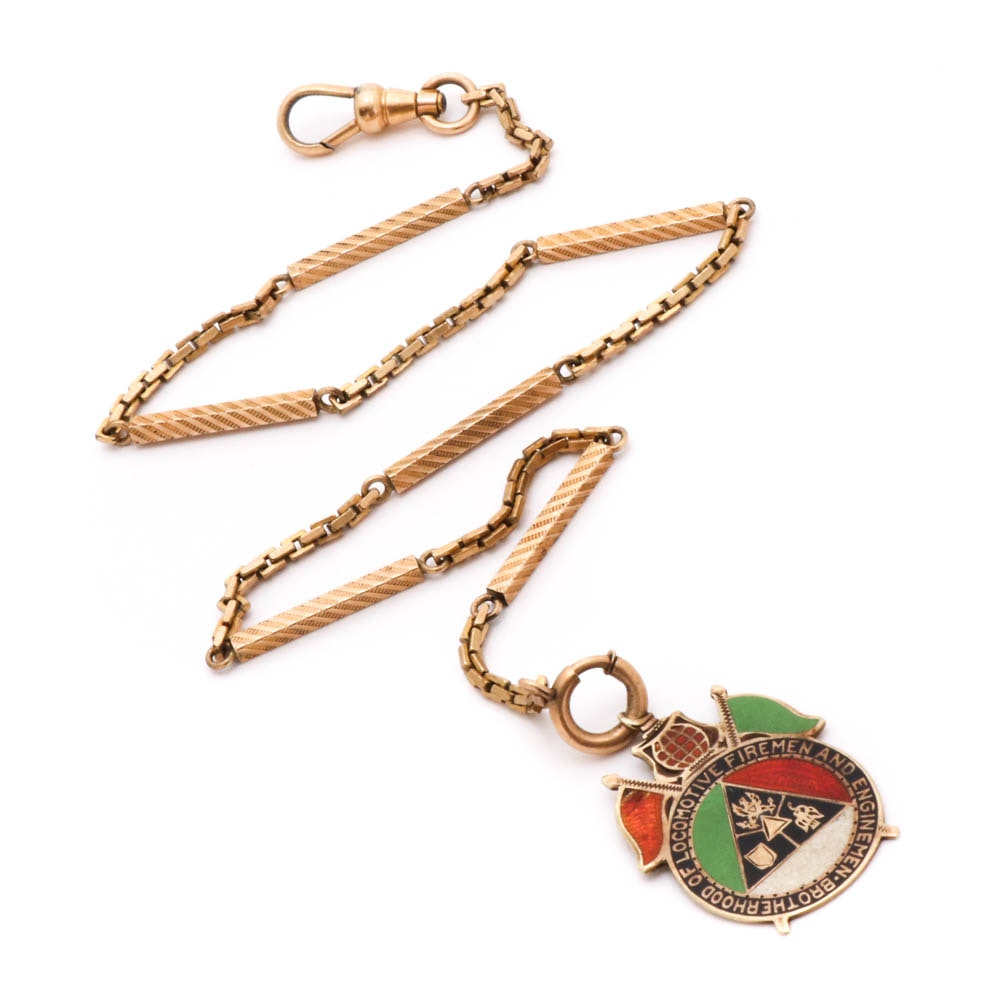 14K Yellow Gold and Gold Filled Watch Chain and Fob