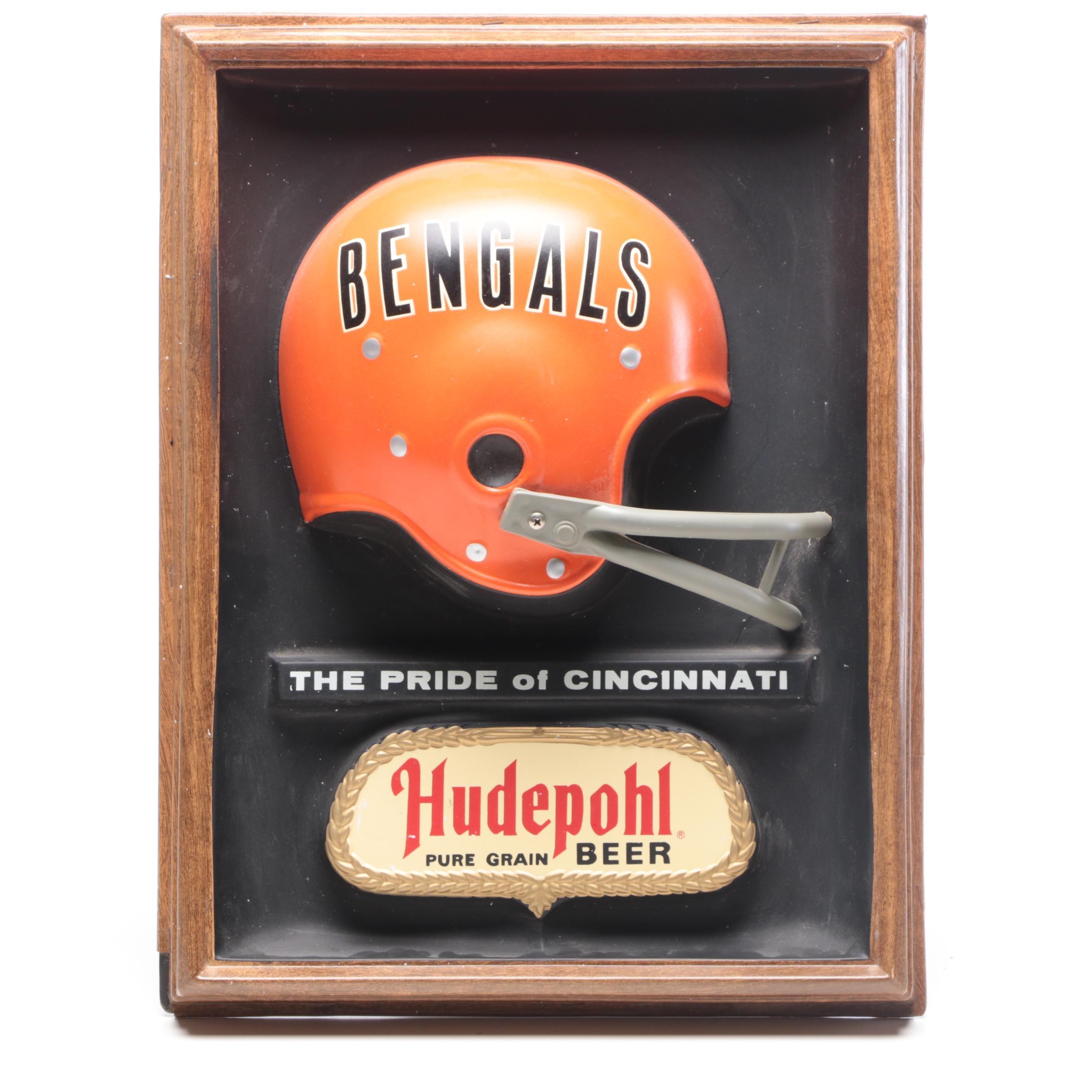 1977 Cincinnati Bengals Hudepohl Beer Wall Mount Advertising Sign