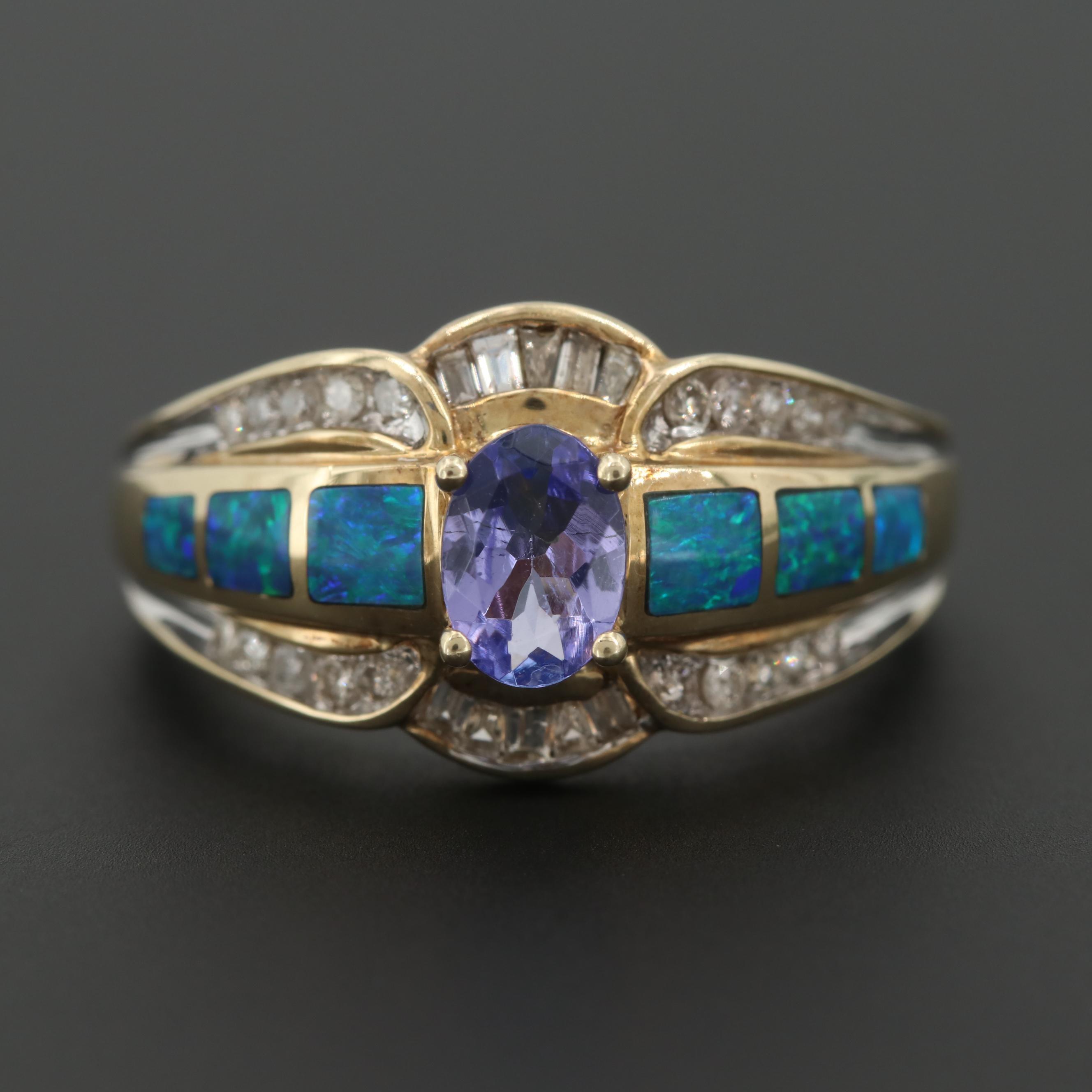 10K Yellow Gold Tanzanite, Synthetic Opal and Diamond Ring