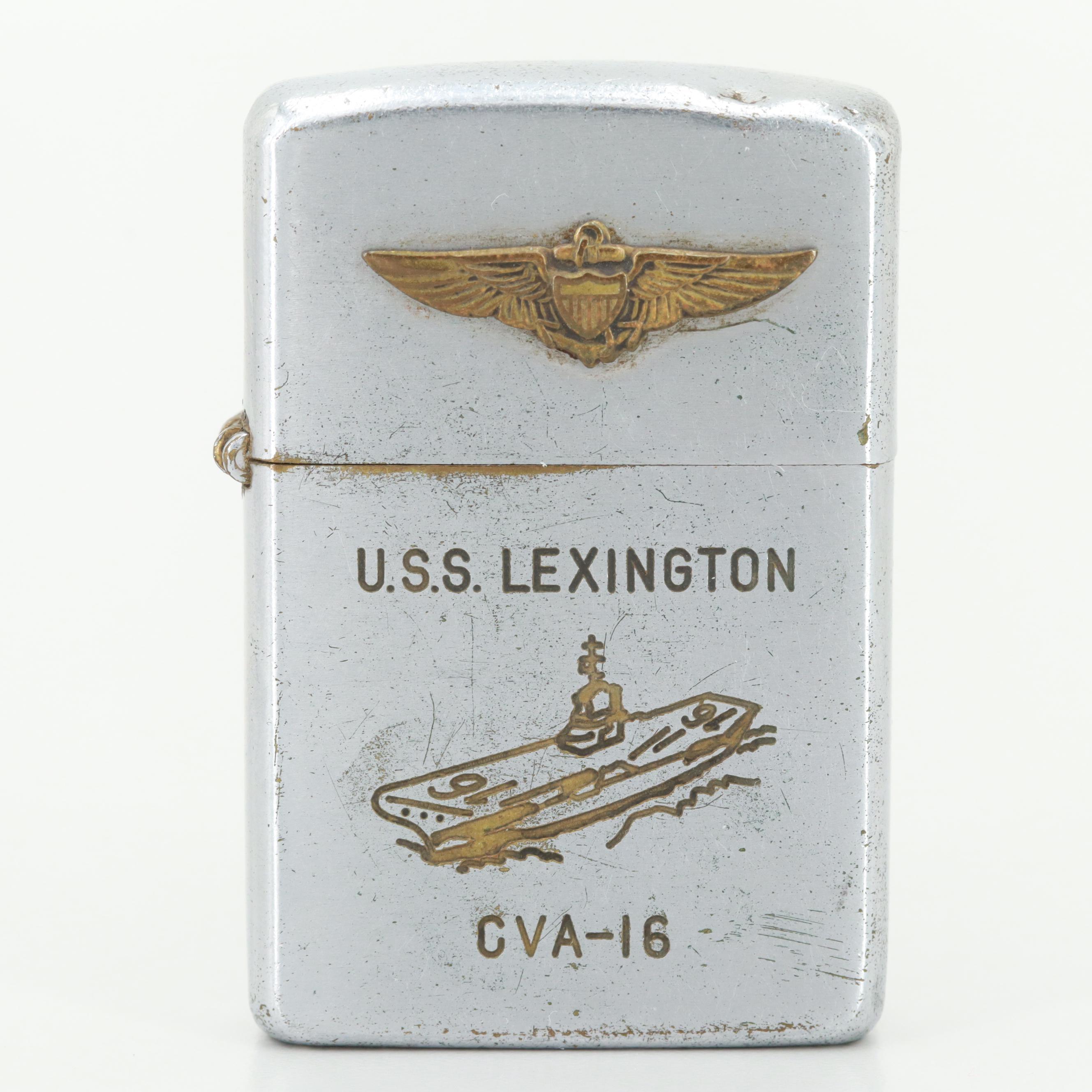 Silver Tone U.S.S. Lexington Lighter