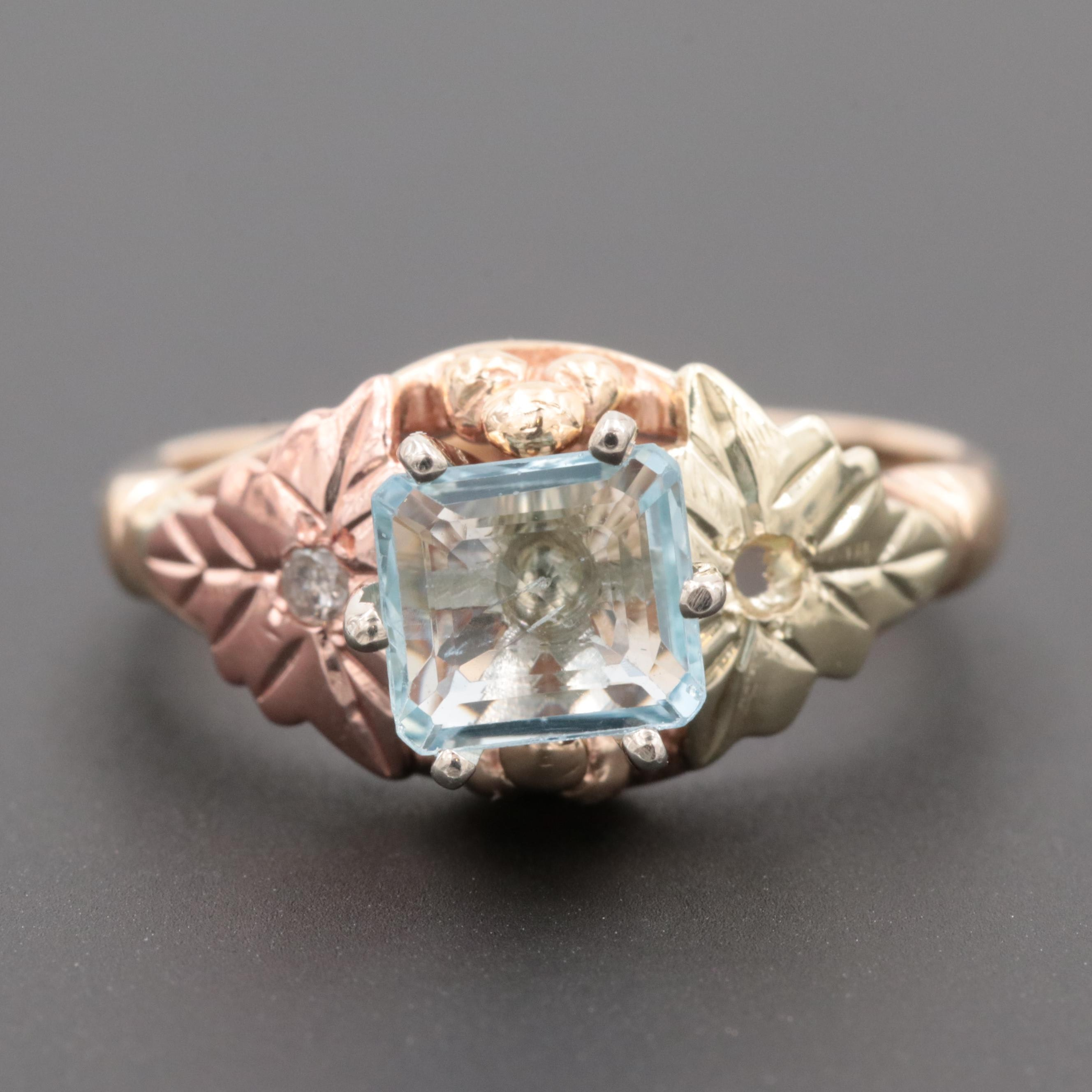 10K Yellow Gold Aquamarine and Diamond Ring with Rose and Green Gold Accents