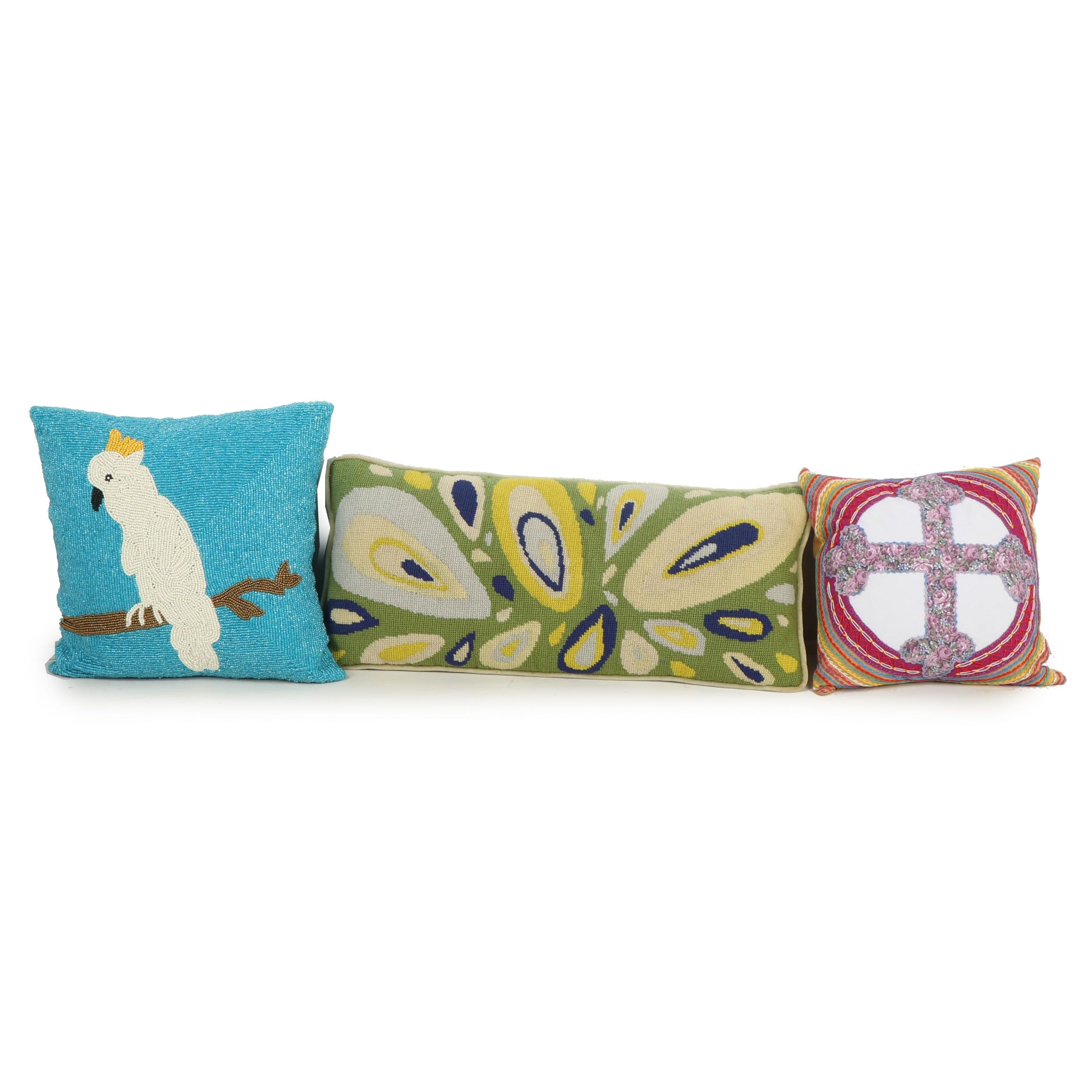 Decorative Beaded, Needlepoint and Appliqué Throw Pillows