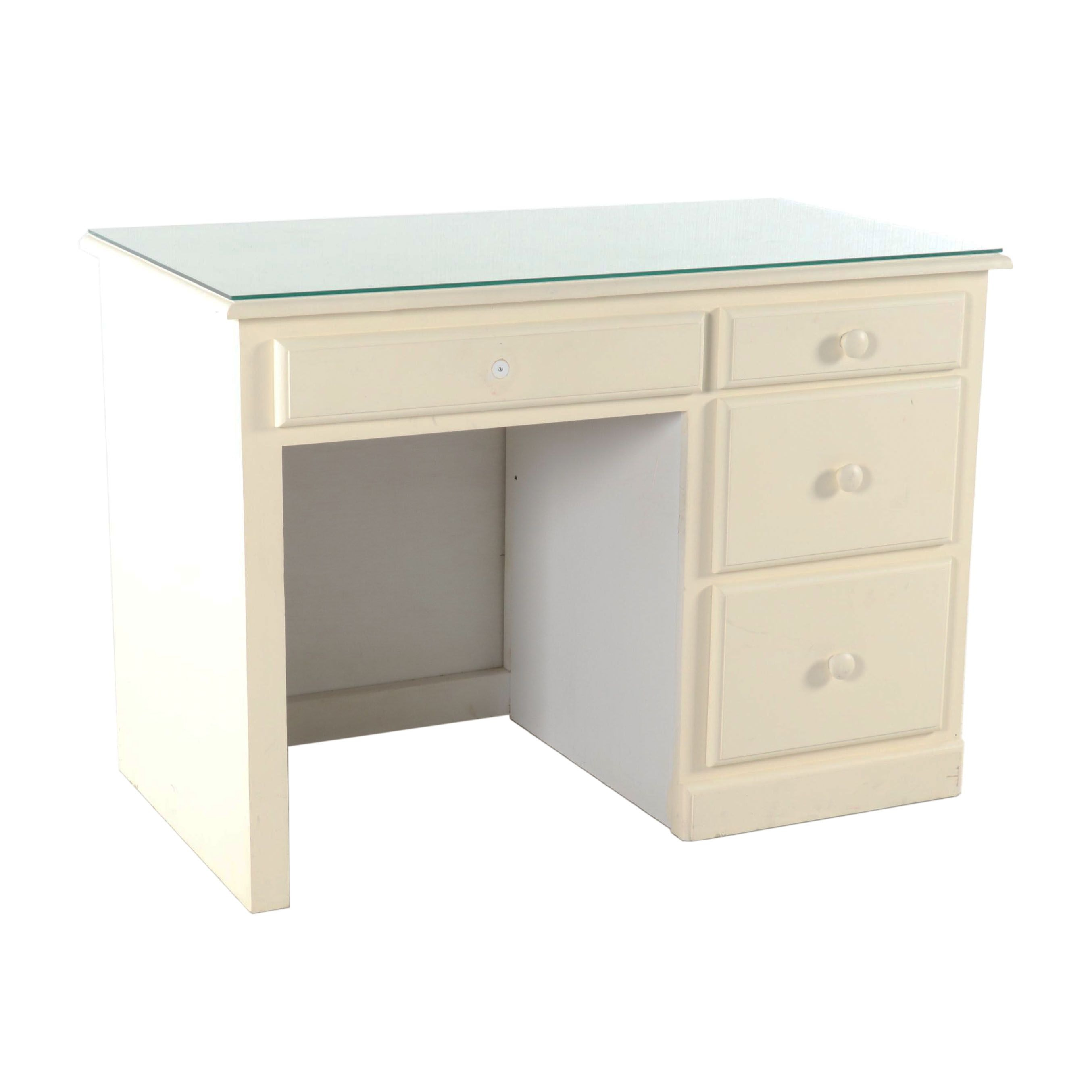 Painted Desk with Glass Top, Late 20th Century