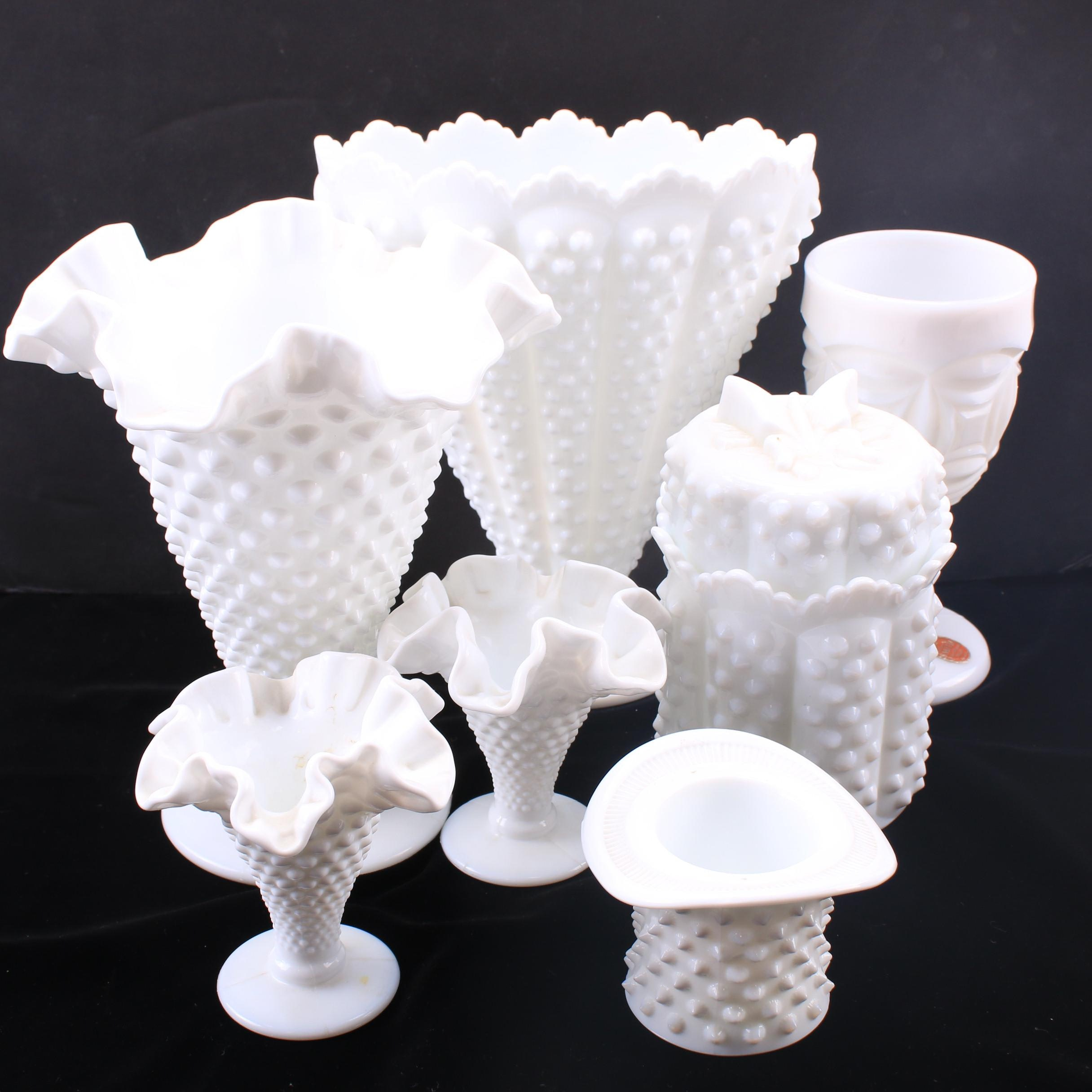 Fenton Hobnail Milk Glass Vases and Decor, Vintage
