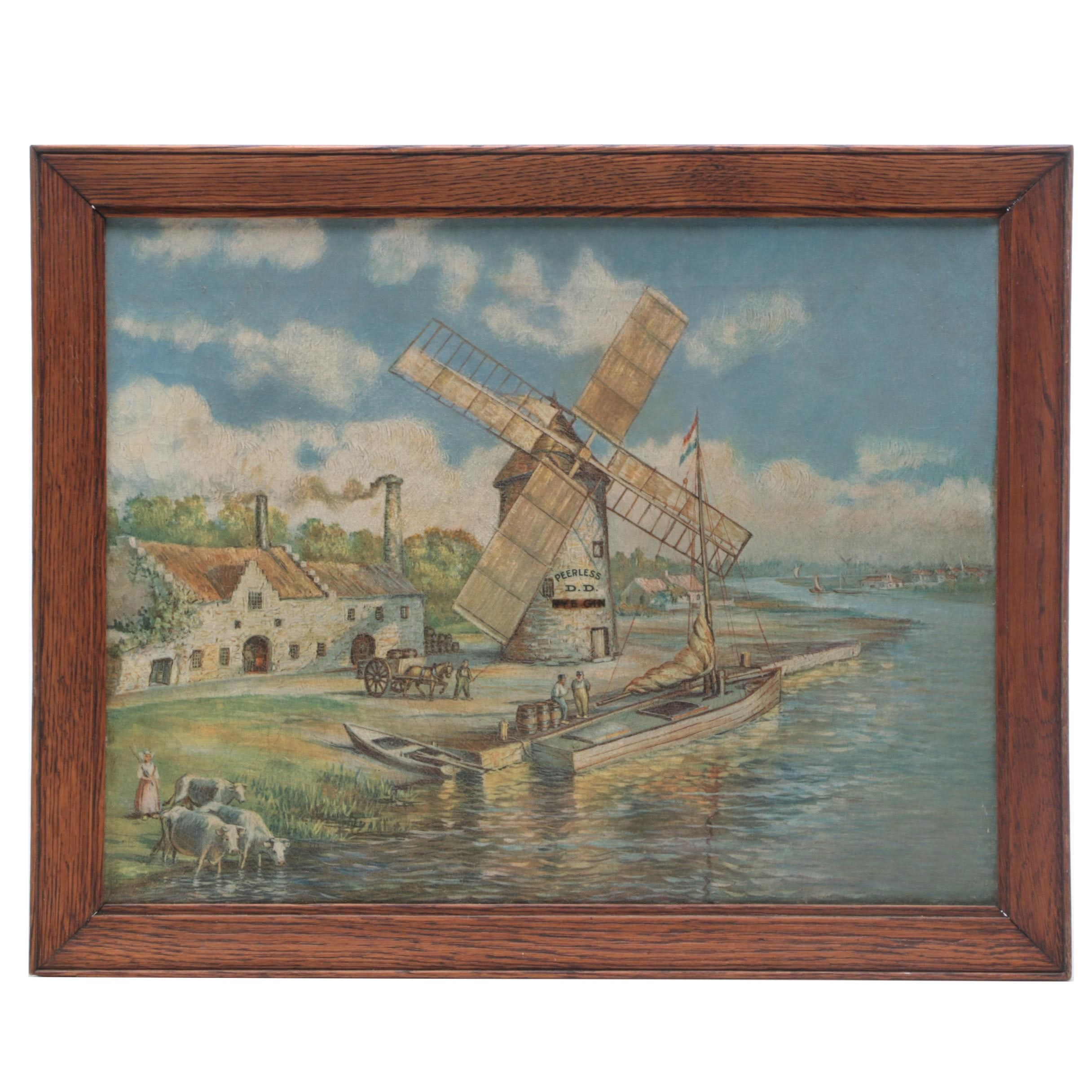 Peerless D. D. Rye Gin Advertising Lithograph on Canvas, Early 20th Century