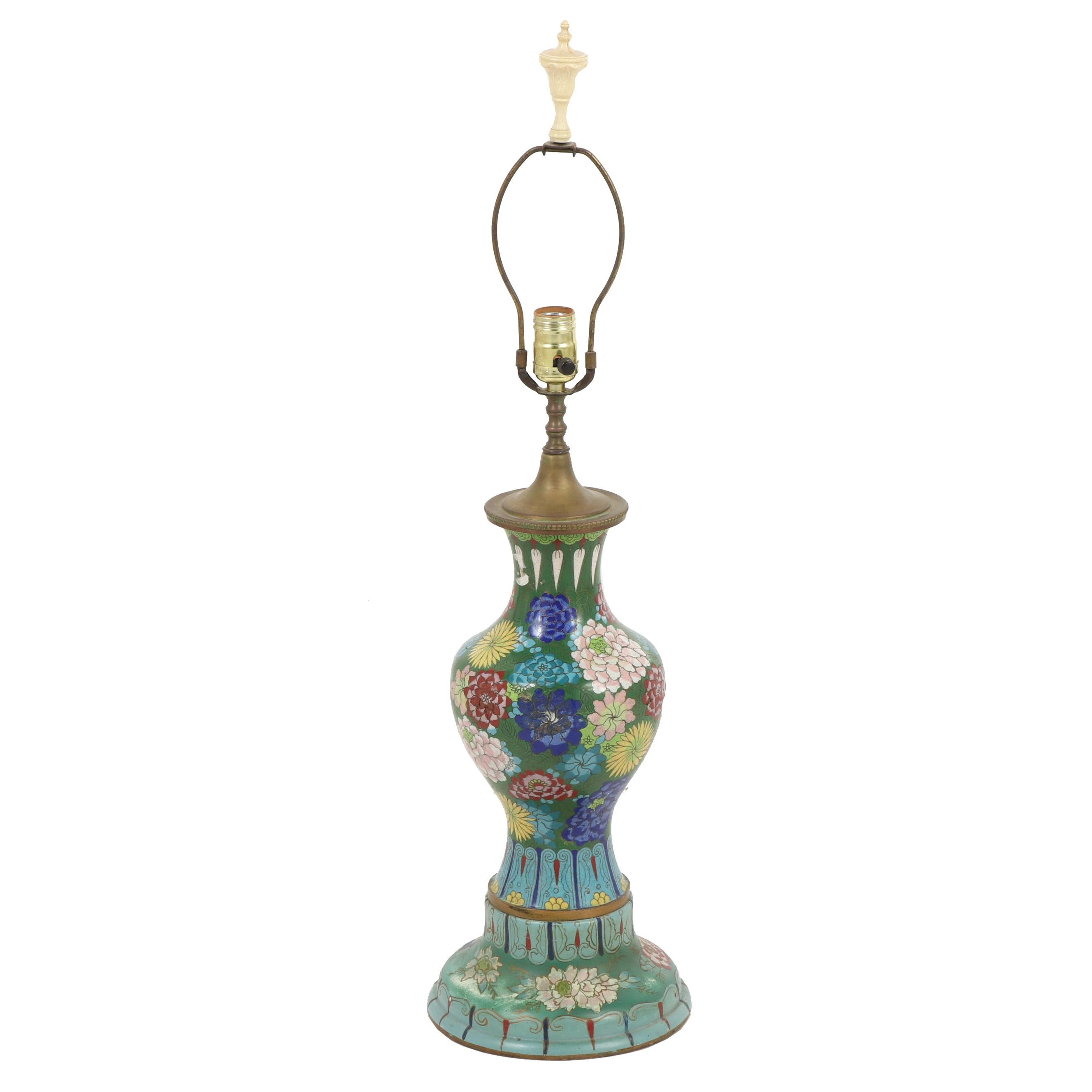 Chinese Cloisonné Chrysanthemum Motif Table Lamp
