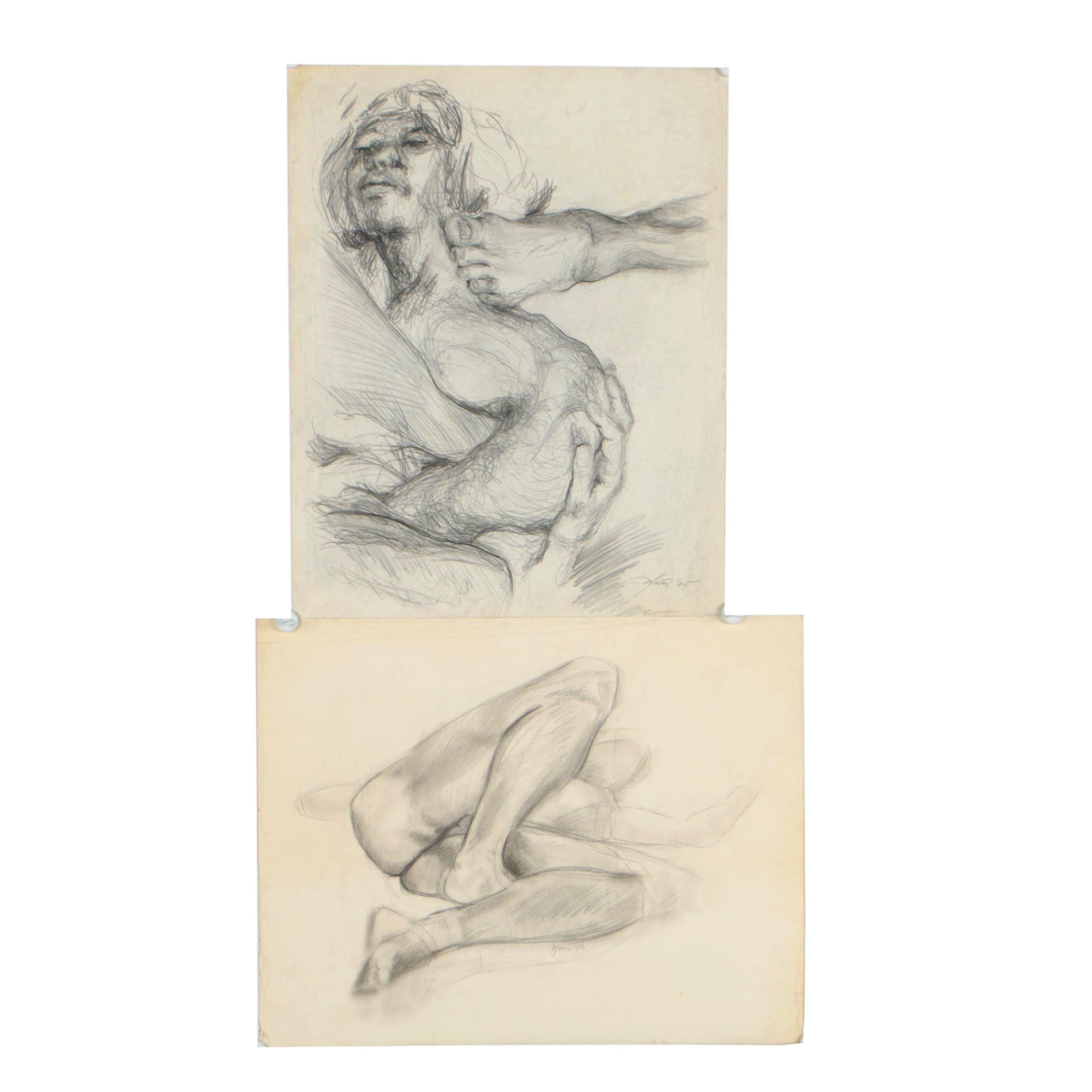 "Ricardo Morin 1975-1977 Graphite Figural Drawings ""Surreal"" and ""Male6"""