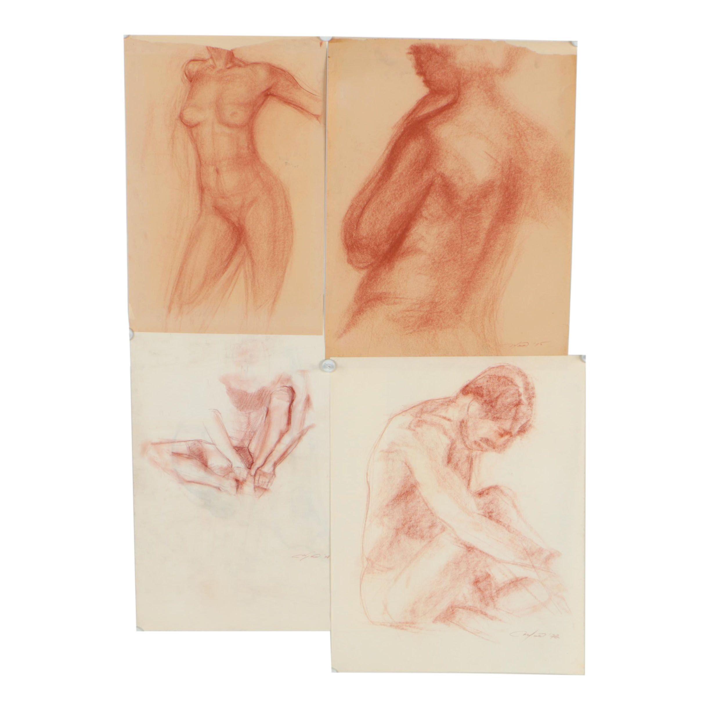 Ricardo Morin 1975-1978 Sanguine Drawings of Nude Figures