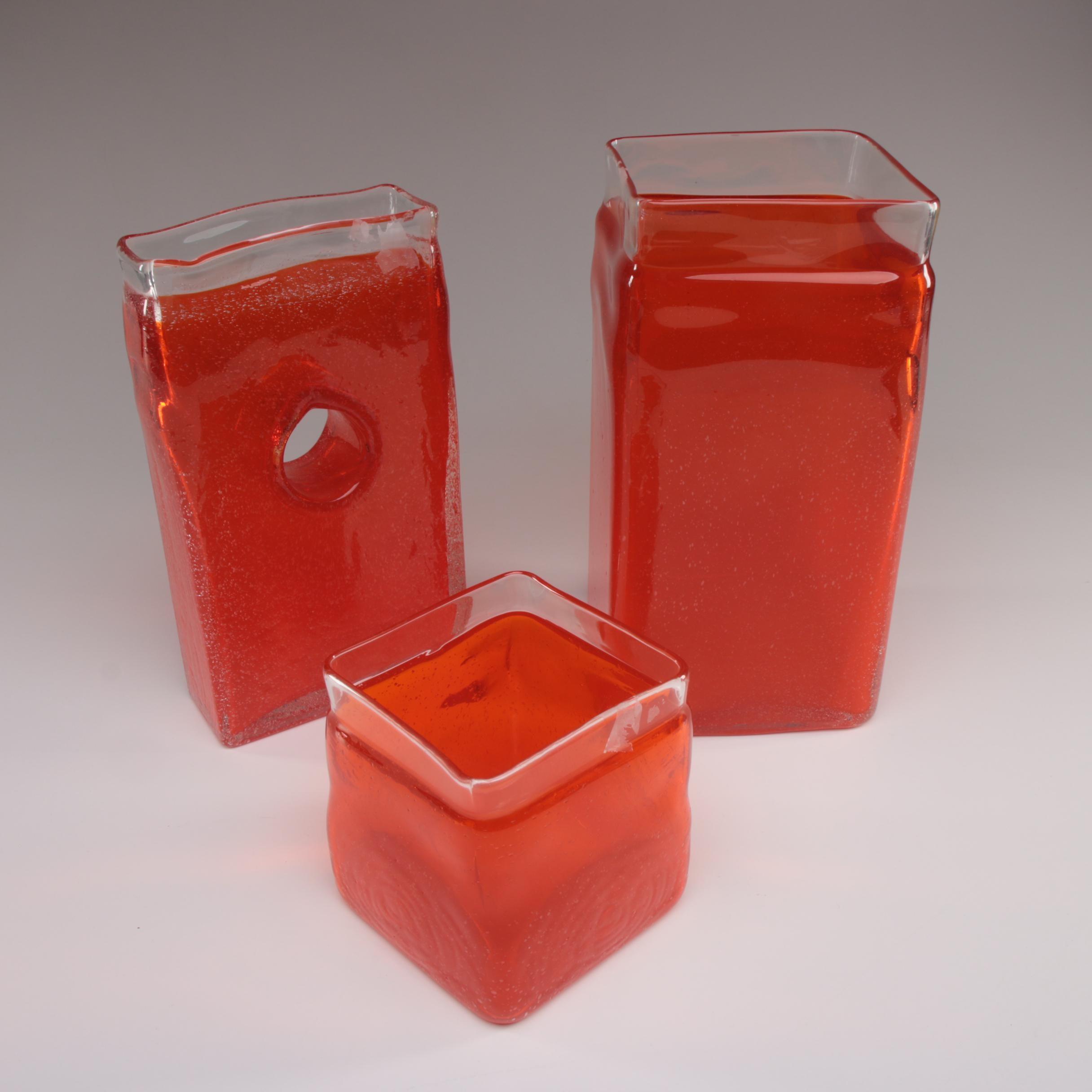 Mid-Century Modern Style Orange Blown Glass Block Vases