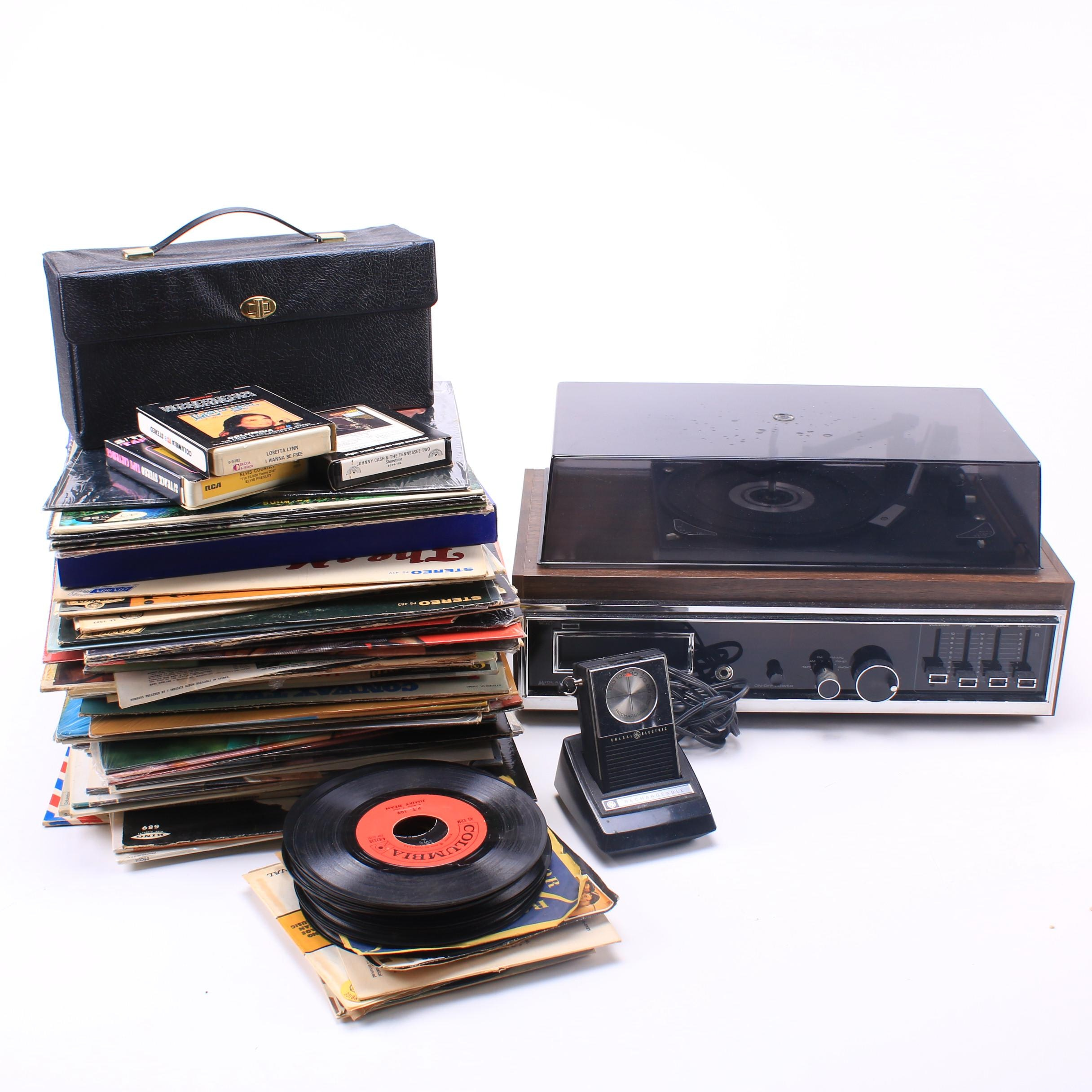 Midland Receiver with Record Player and 8-Track Including Records and More