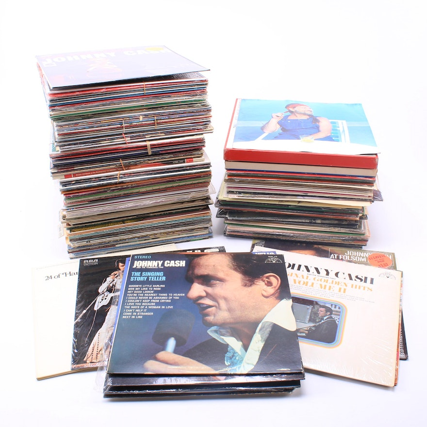 Vinyl Records Featuring Johnny Cash, Elvis and Willie Nelson